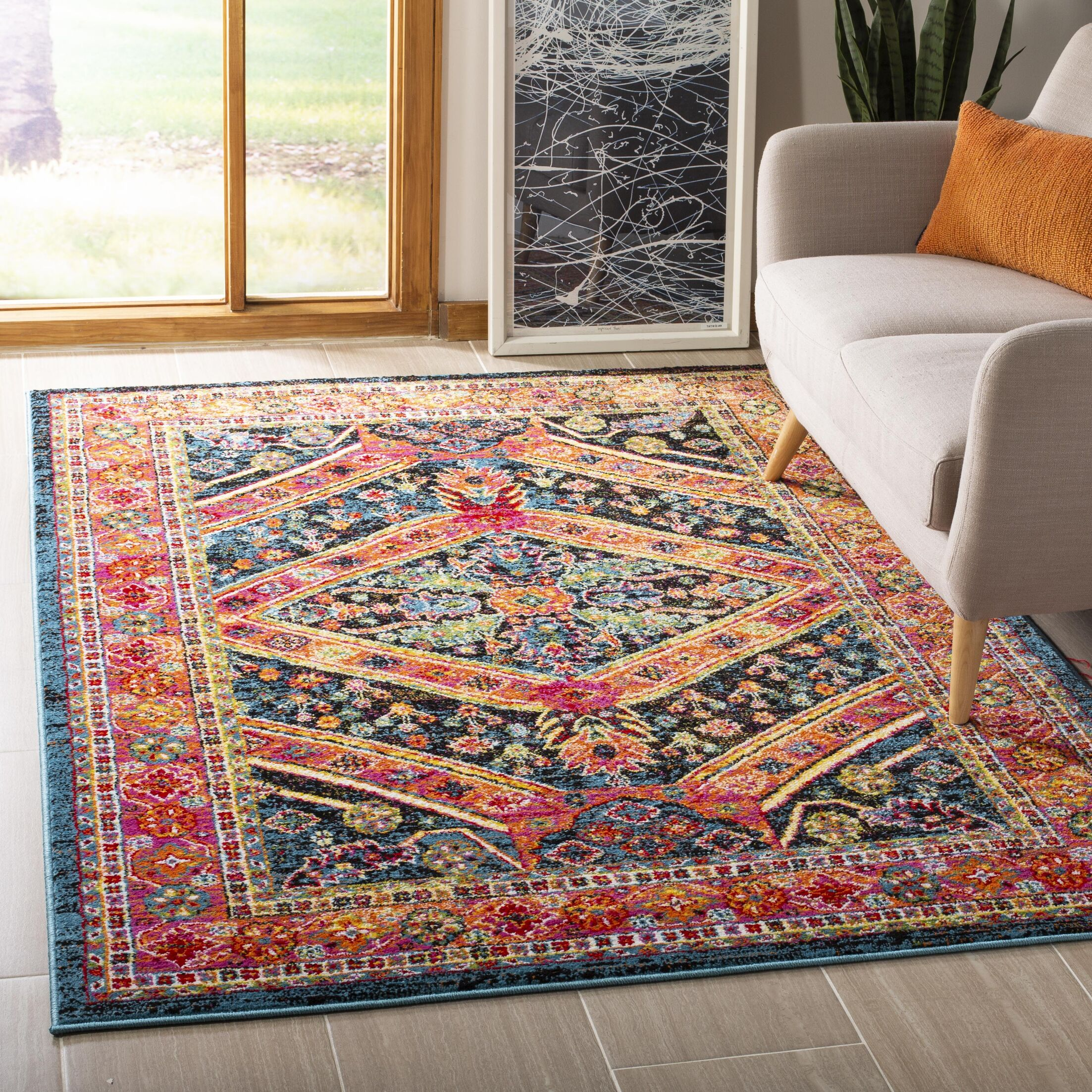 Owen Turquoise Area Rug Rug Size: Rectangle 5'1