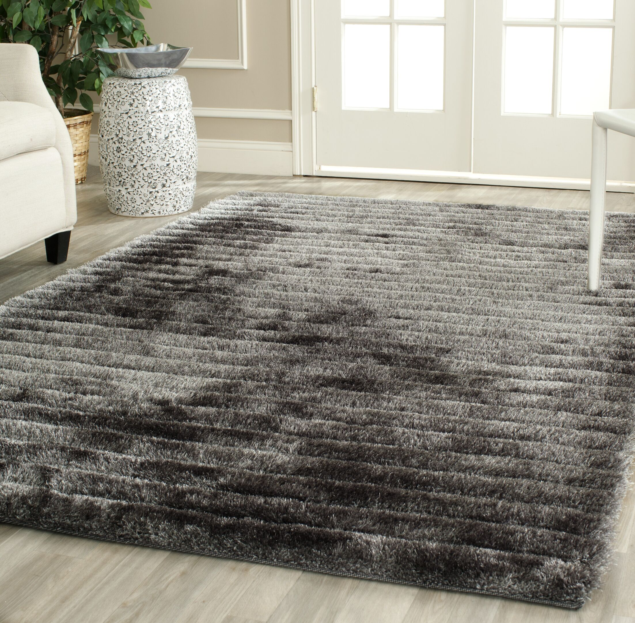 Wyler Hand-Tufted Silver Area Rug Rug Size: Round 6'