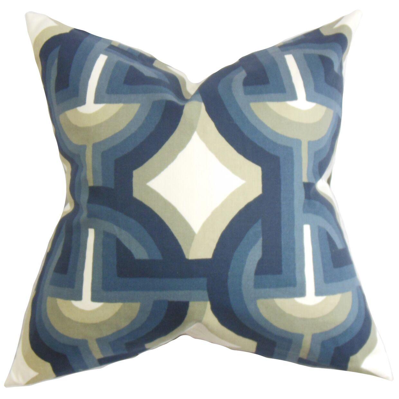 Westerlo Geometric Bedding Sham Size: Euro, Color: Blue/White