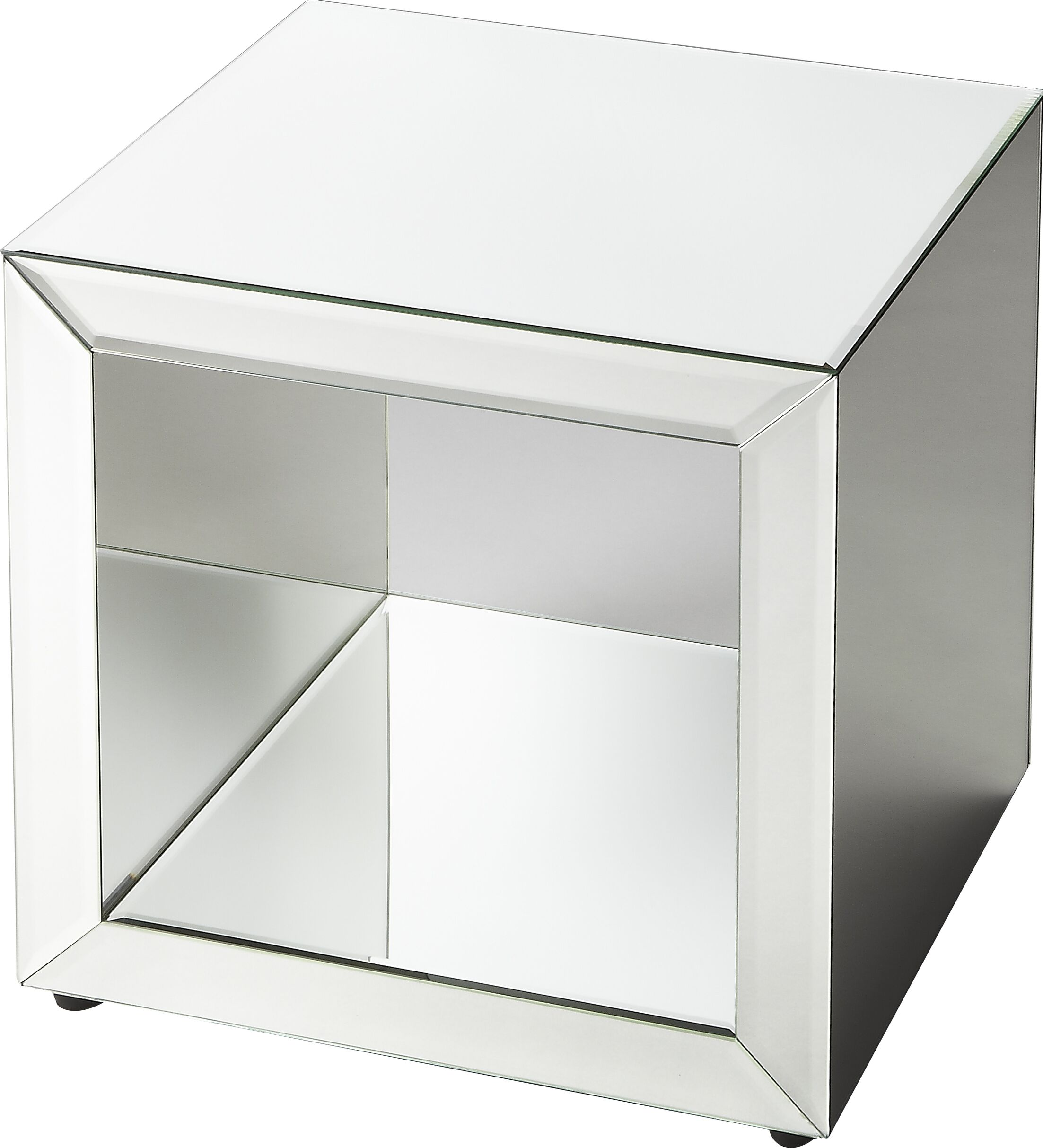 Seraphin Mirrored Cube End Table
