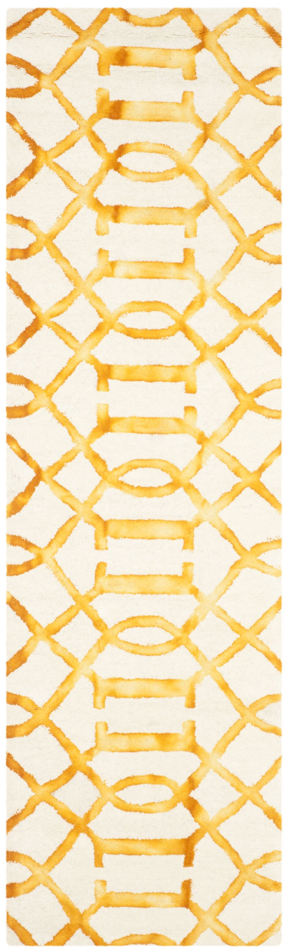 Sinclair Ivory/Gold Area Rug Rug Size: Runner 2'3