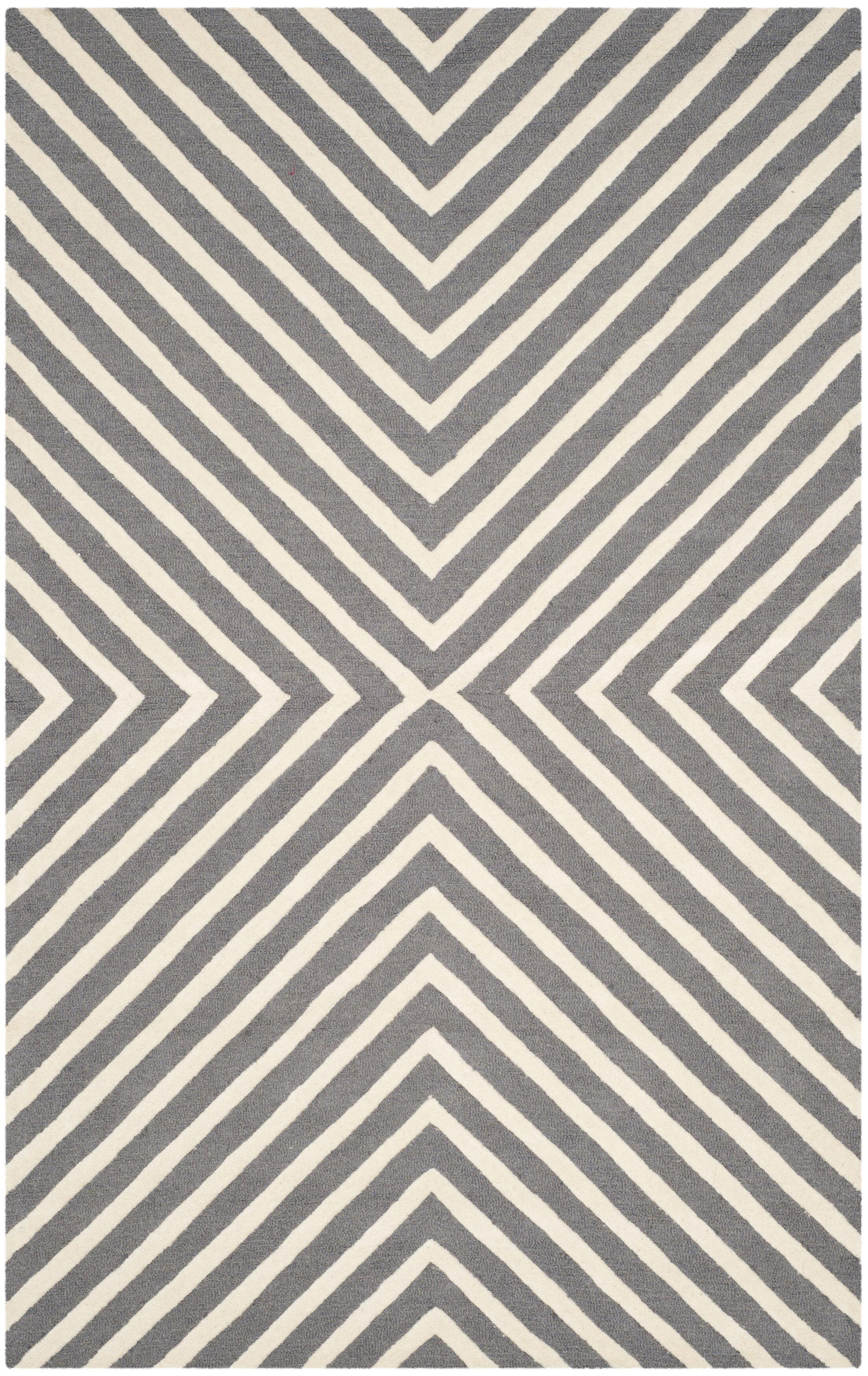 Oakley Dark Gray/Ivory Area Rug Rug Size: Rectangle 5' x 8'