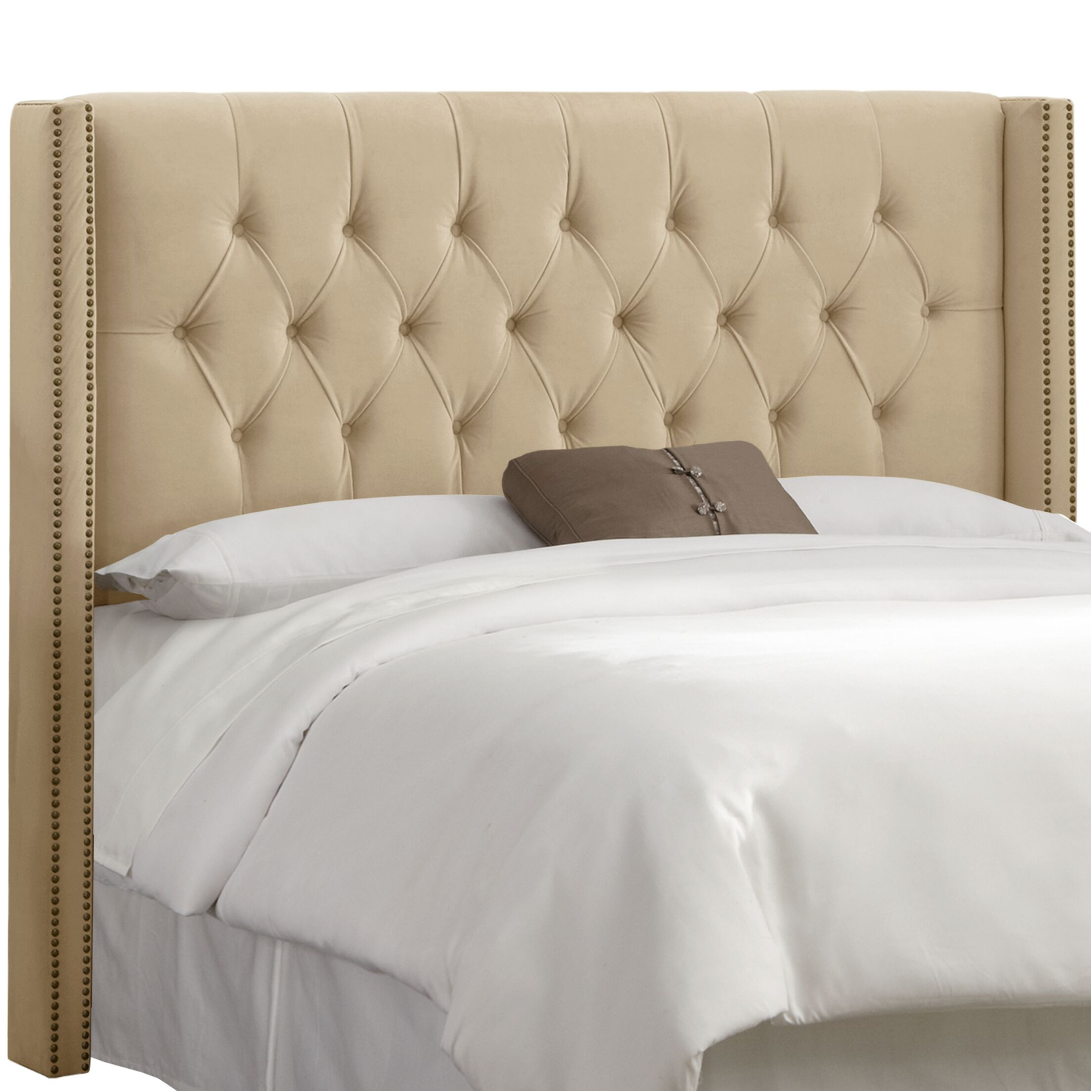 Alling Upholstered Wingback Headboard Size: King, Upholstery: Premier Oatmeal
