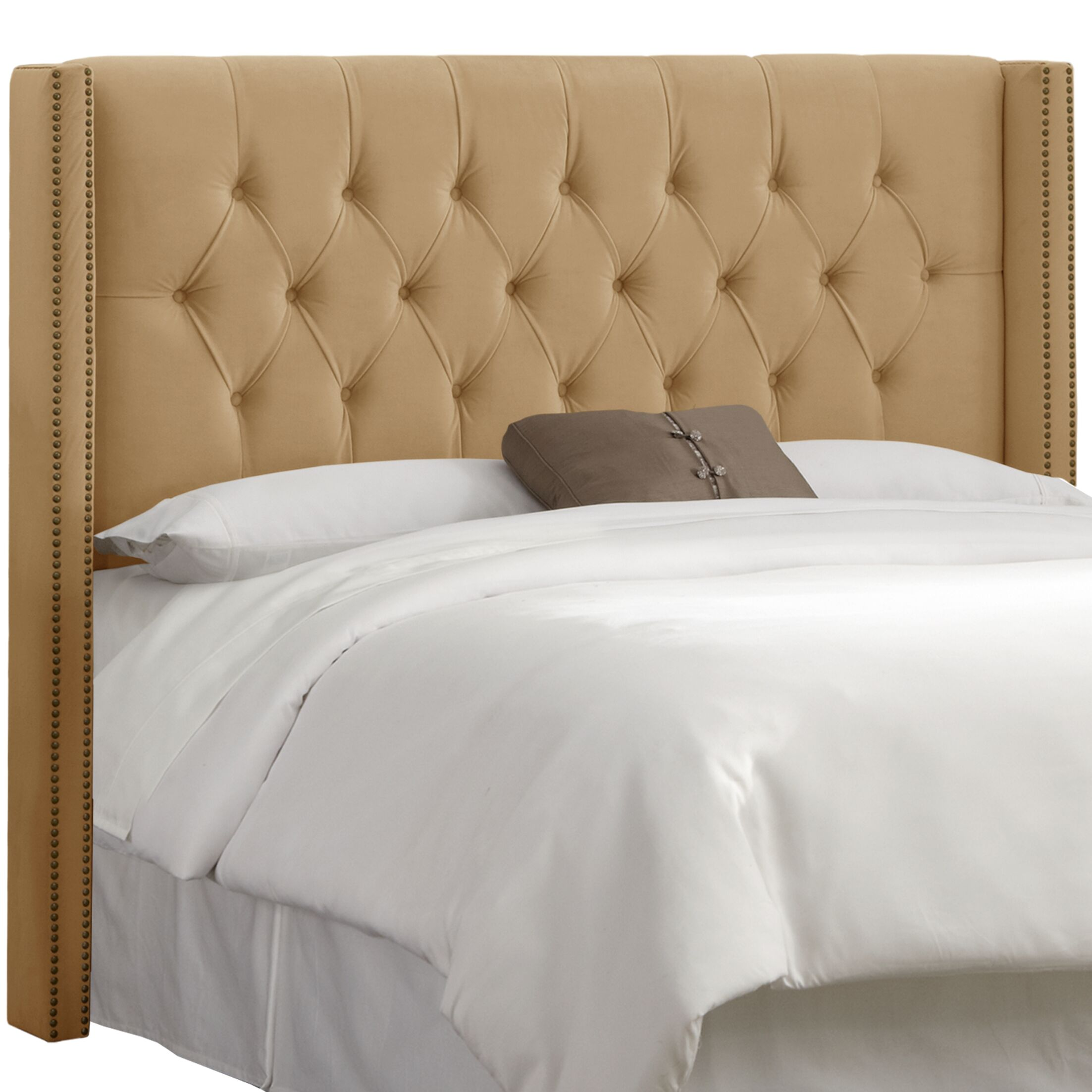 Drage Diamond Tufted Upholstered Wingback Headboard Upholstery: Velvet Honey, Size: California King