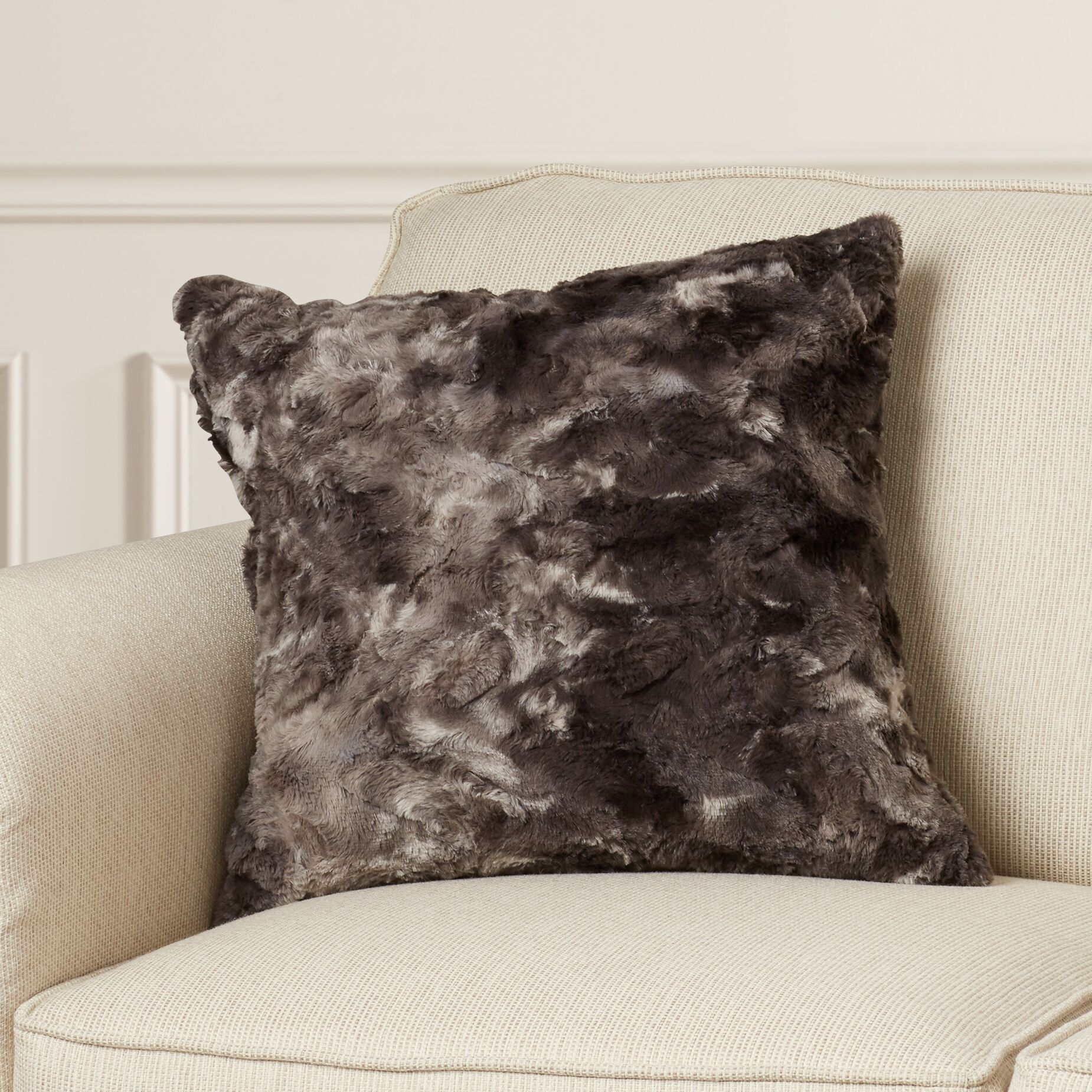 Fabrizio Throw Pillow Color: Charcoal/Light Gray, Size: 22