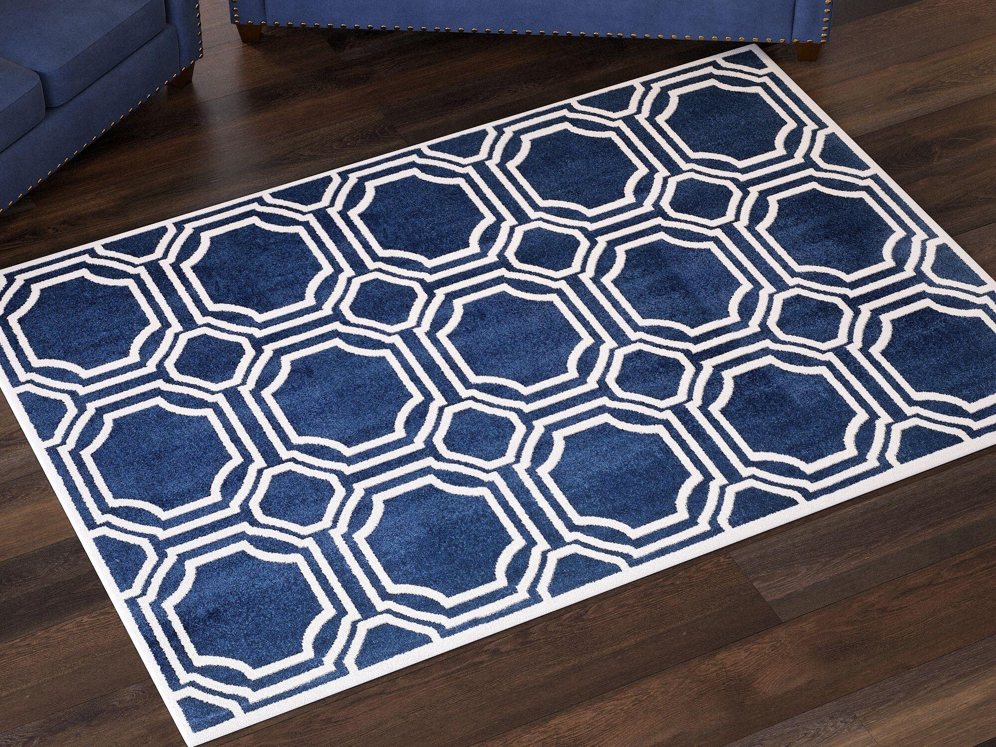 Maritza Navy/Ivory Area Rug Rug Size: Rectangle 6' x 9'