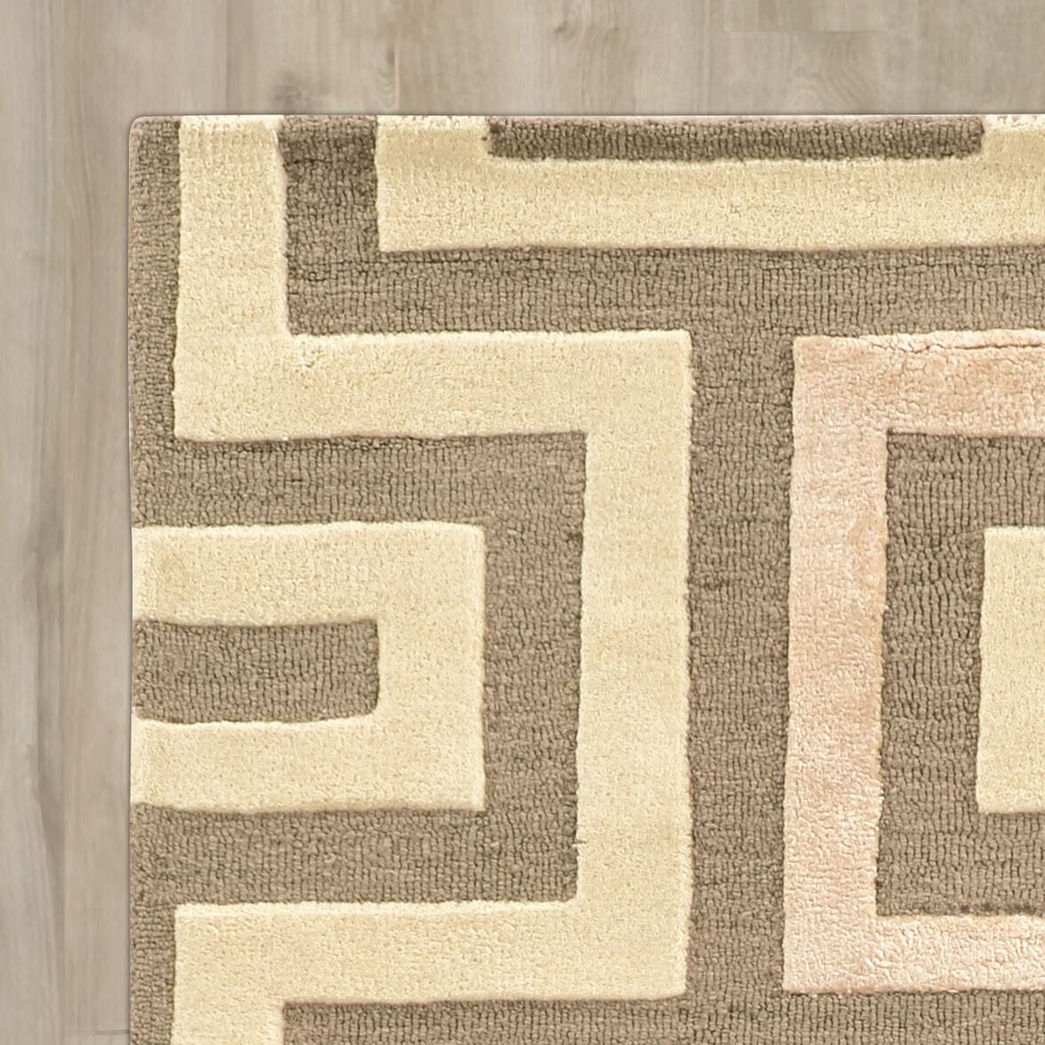 Leone Hand-Tufted Beige/Gray Area Rug Rug Size: Rectangle 8' x 11'