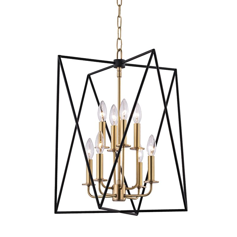 Fitz 8-Light Square/Rectangle Chandelier Finish: Aged Brass, Size: 22.5