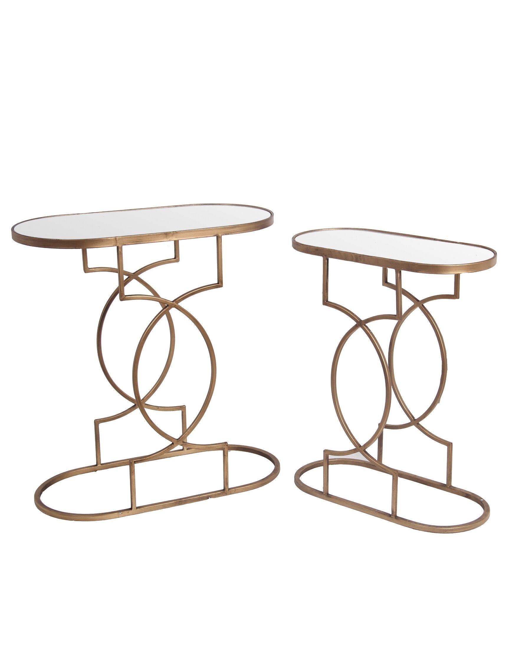 Fabia 2 Piece End Table Set Color: Gold