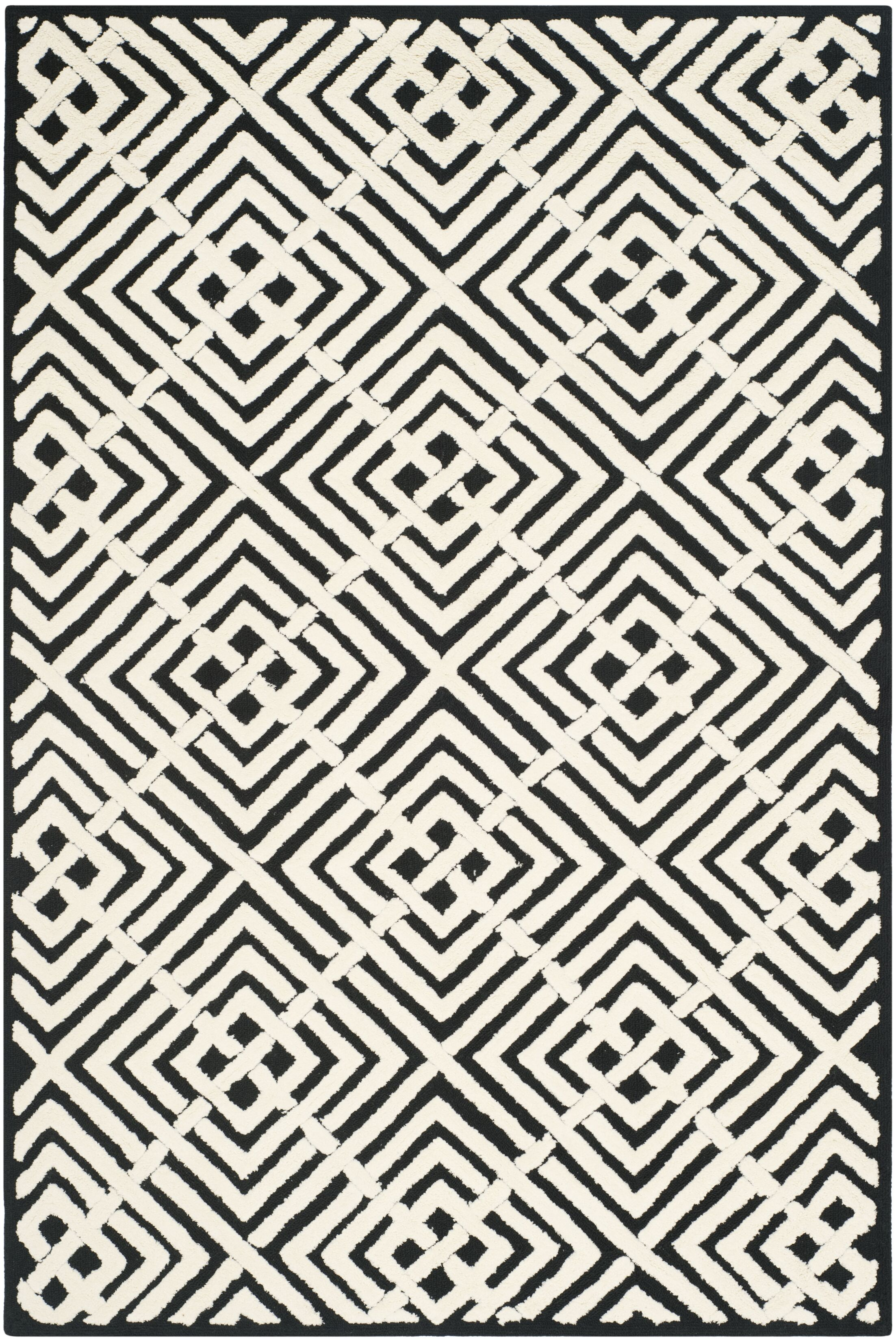 Nieve Black/White Geometric Area Rug Rug Size: Rectangle 3'9
