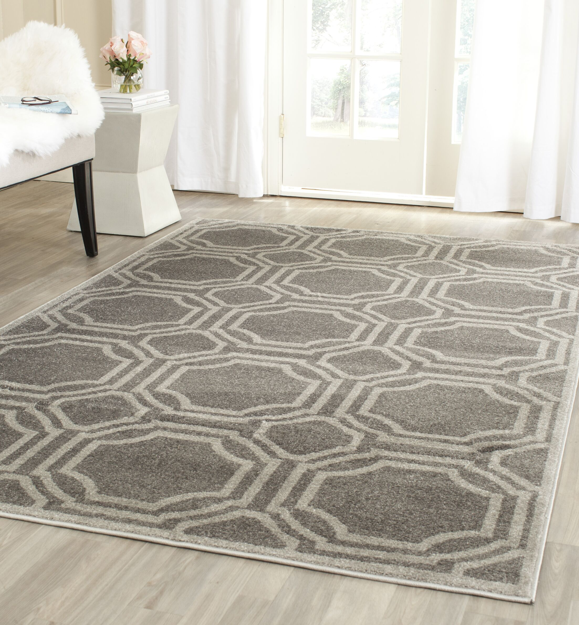Maritza Grey & Light Grey Indoor/Outdoor Area Rug Rug Size: Rectangle 5' x 8'