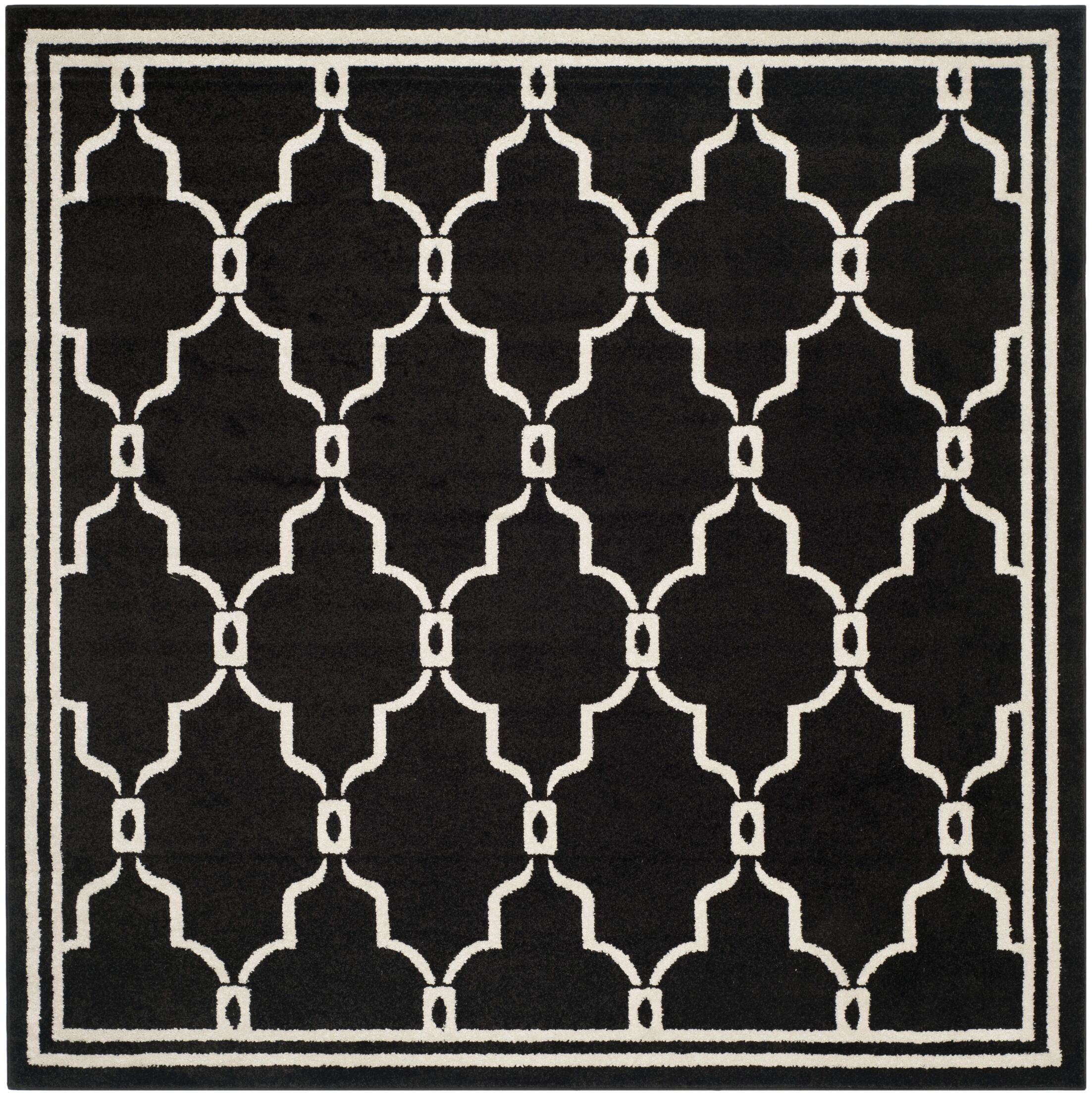 Wason Geometric Anthracite/Ivory Outdoor Area Rug Rug Size: Square 7'