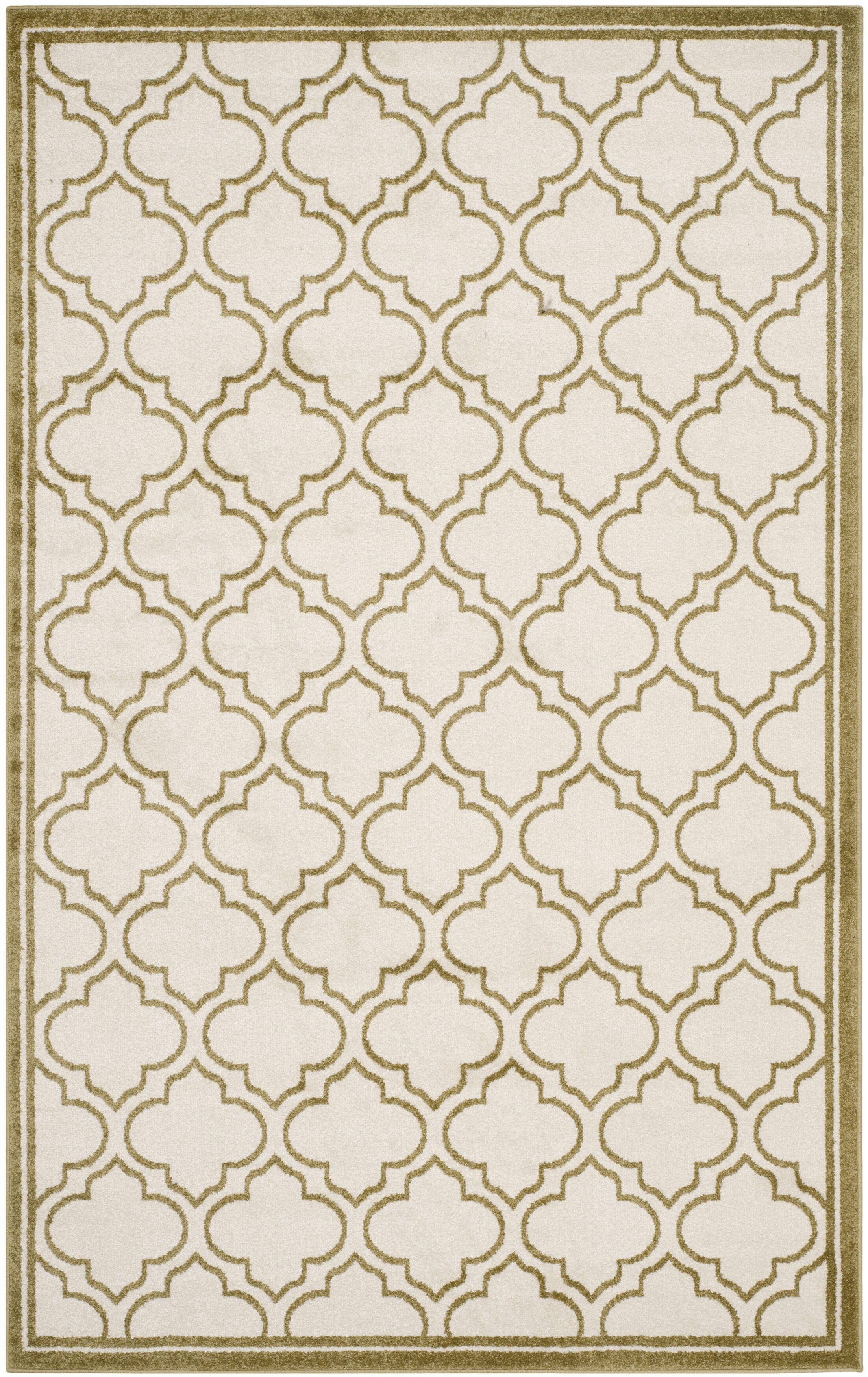 Maritza Ivory/Light Green Indoor/Outdoor Area Rug Rug Size: Rectangle 6' x 9'