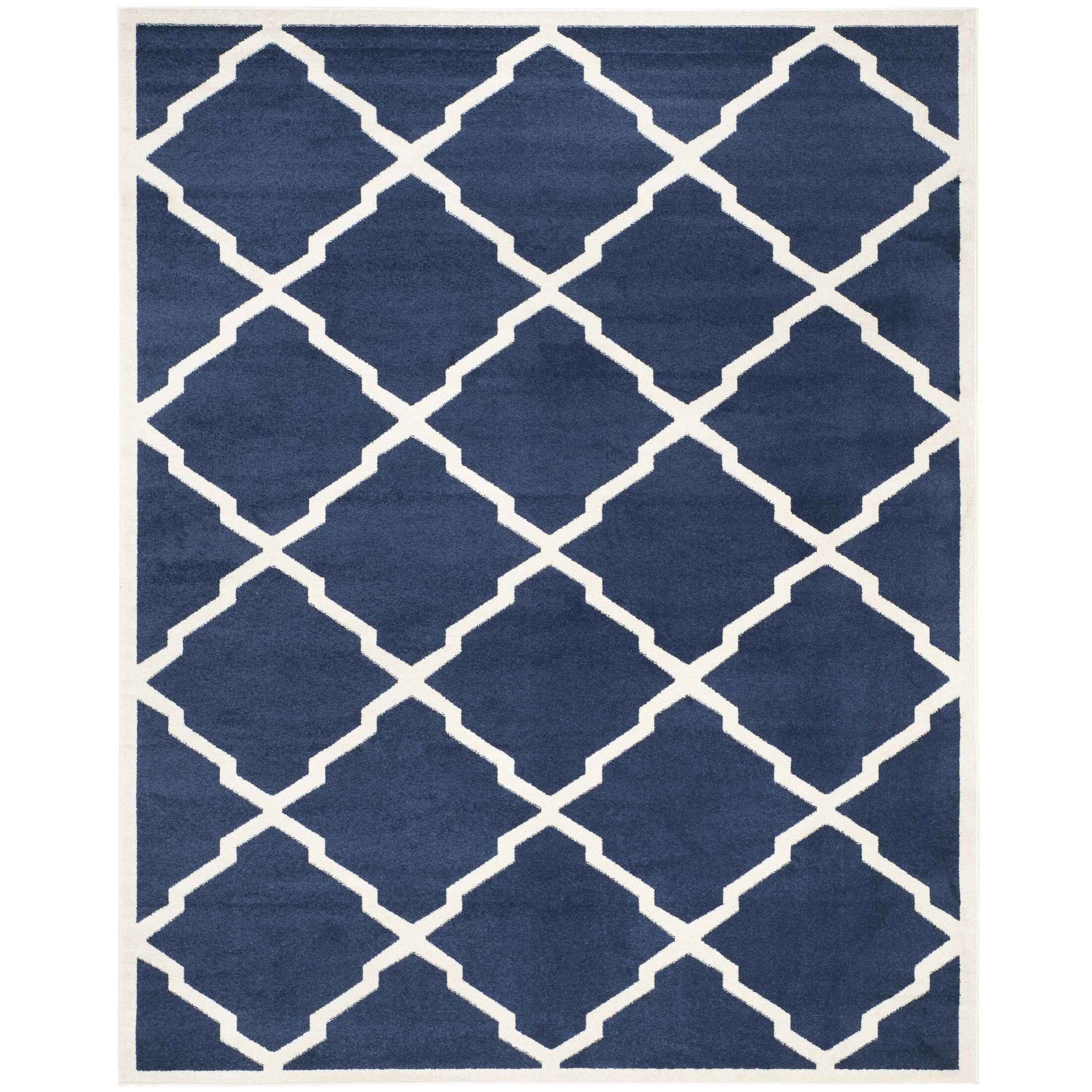 Maritza Navy/Beige Indoor/Outdoor Woven Area Rug Rug Size: Rectangle 4' x 6'