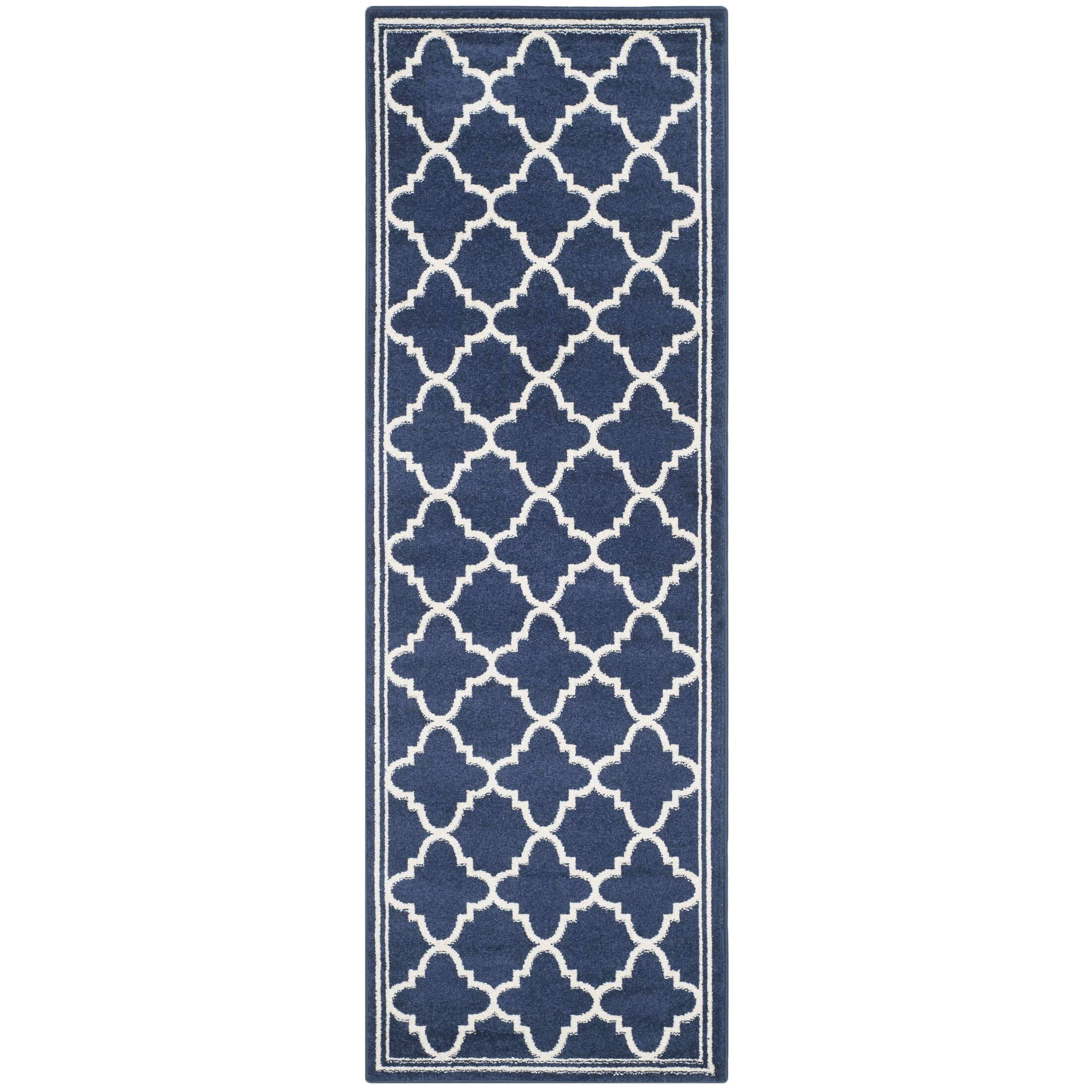 Stodola Geometric Navy/Beige Indoor/Outdoor Woven Area Rug Rug Size: Runner 2'3