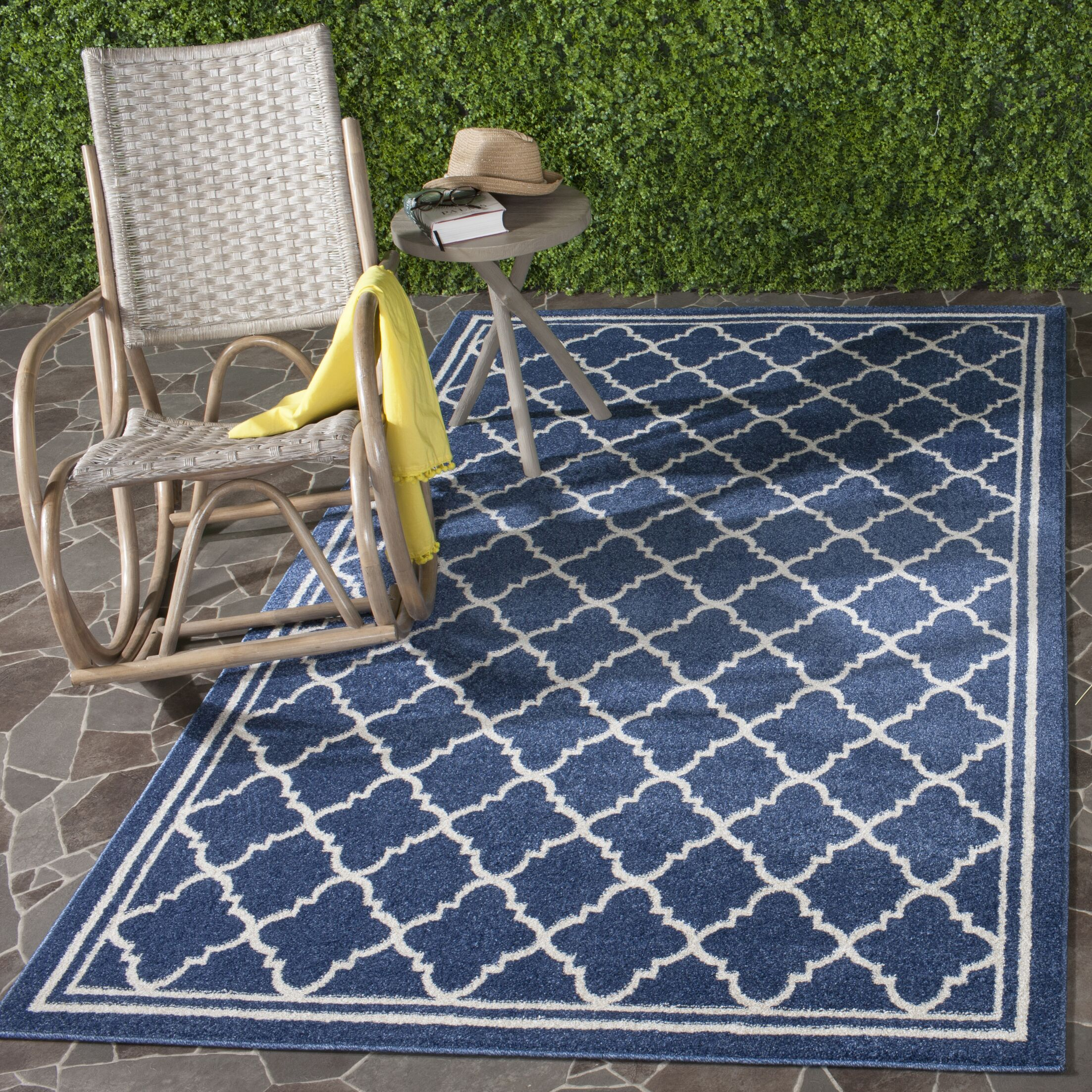 Stodola Geometric Navy/Beige Indoor/Outdoor Woven Area Rug Rug Size: Rectangle 11' x 15'