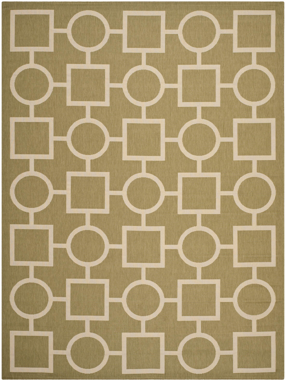 Olsene Green/Beige Indoor/Outdoor Area Rug Rug Size: Rectangle 6'7