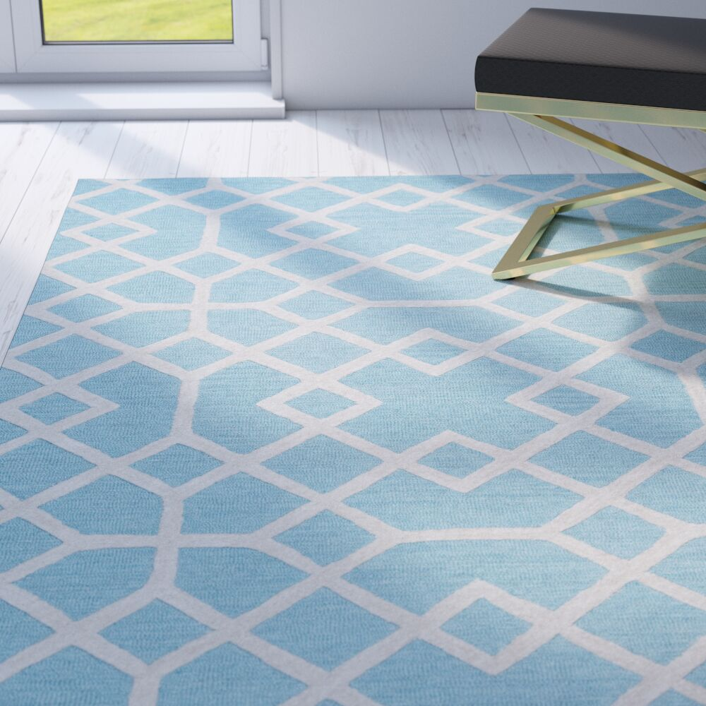 Pero Hand-Tufted Blue Area Rug Rug Size: Runner 2'6