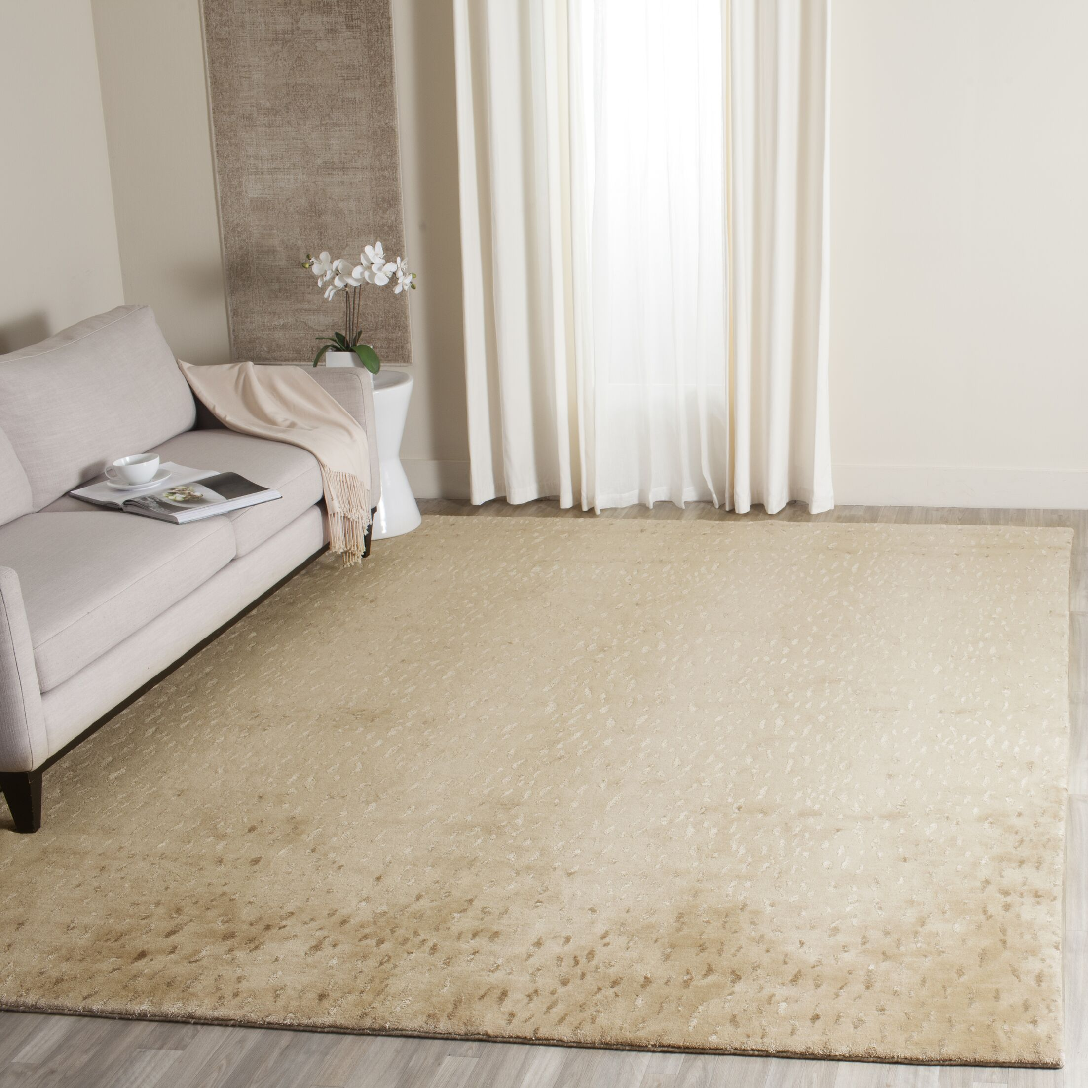 Anguiano Hand-Knotted Beige Area Rug Rug Size: Rectangle 4' x 6'