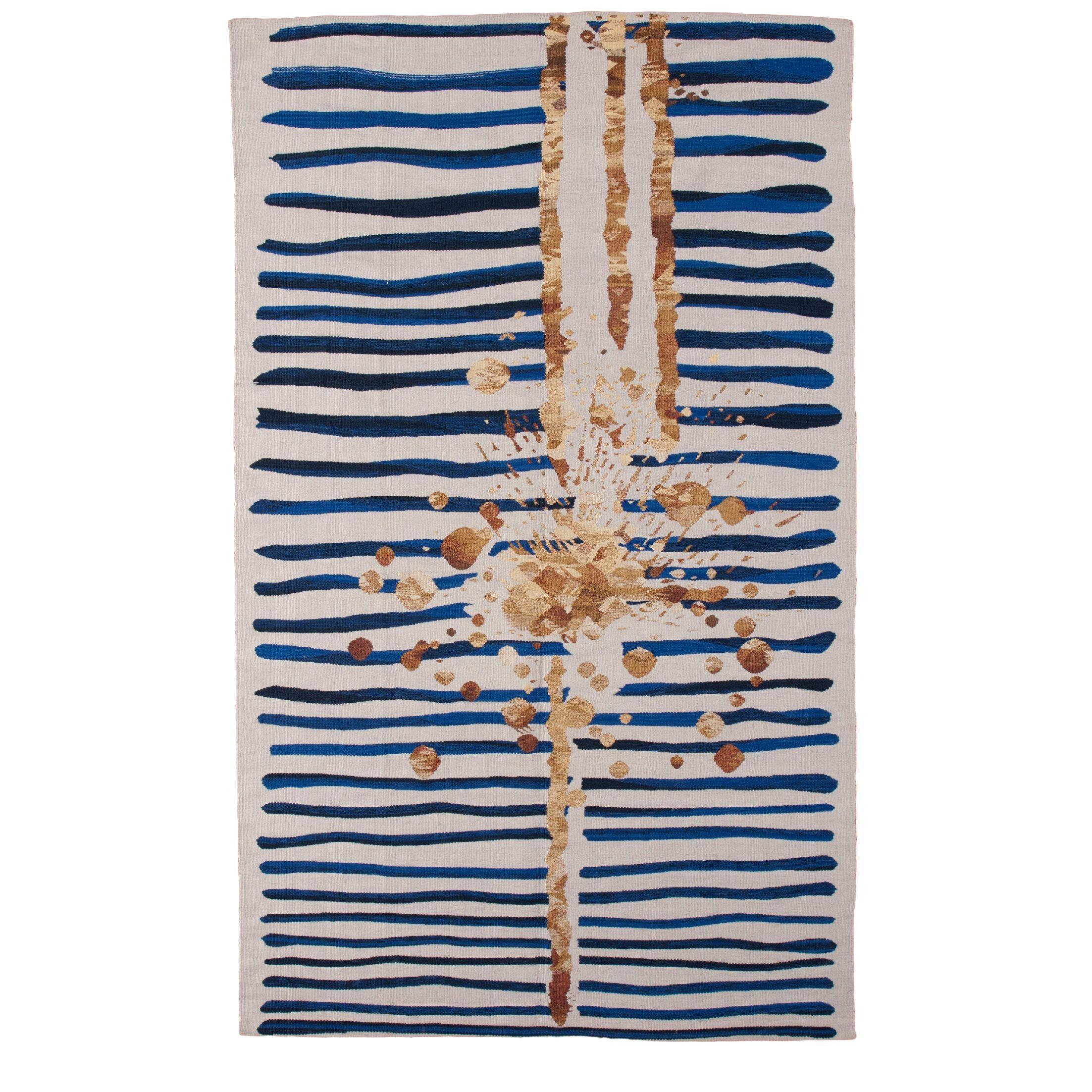 Champlon Hand-Woven Blue/White Area Rug