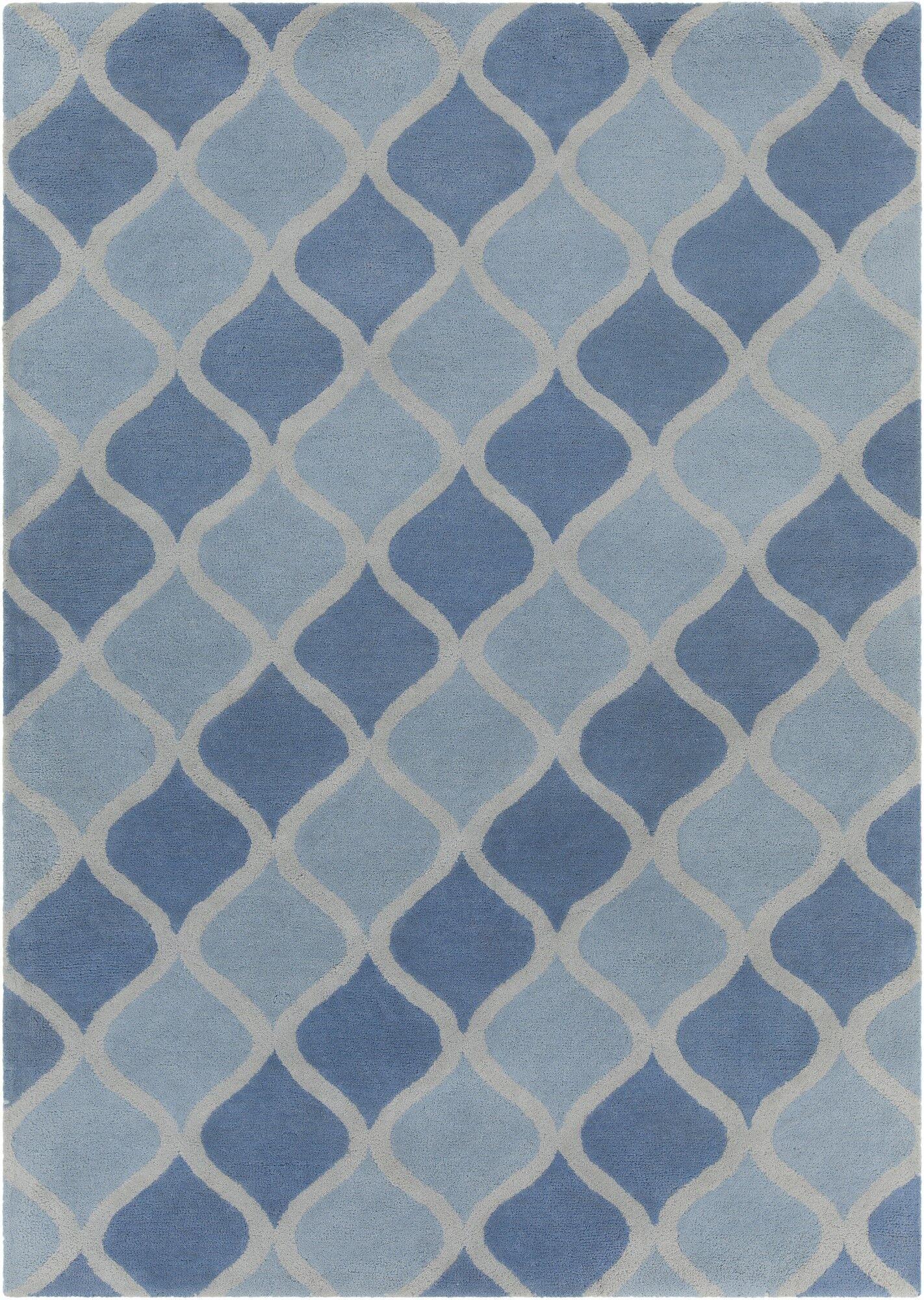 Erith Hand Tufted Rectangle Contemporary Aqua/Blue Area Rug Rug Size: 7' x 10'