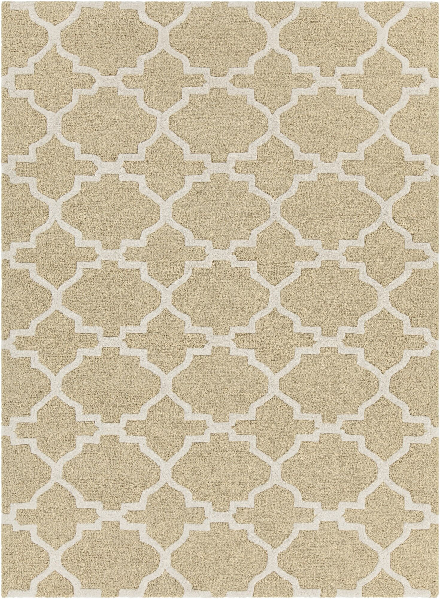 Electra Hand Tufted Rectangle Contemporary Yellow/Cream Area Rug Rug Size: 7' x 10'