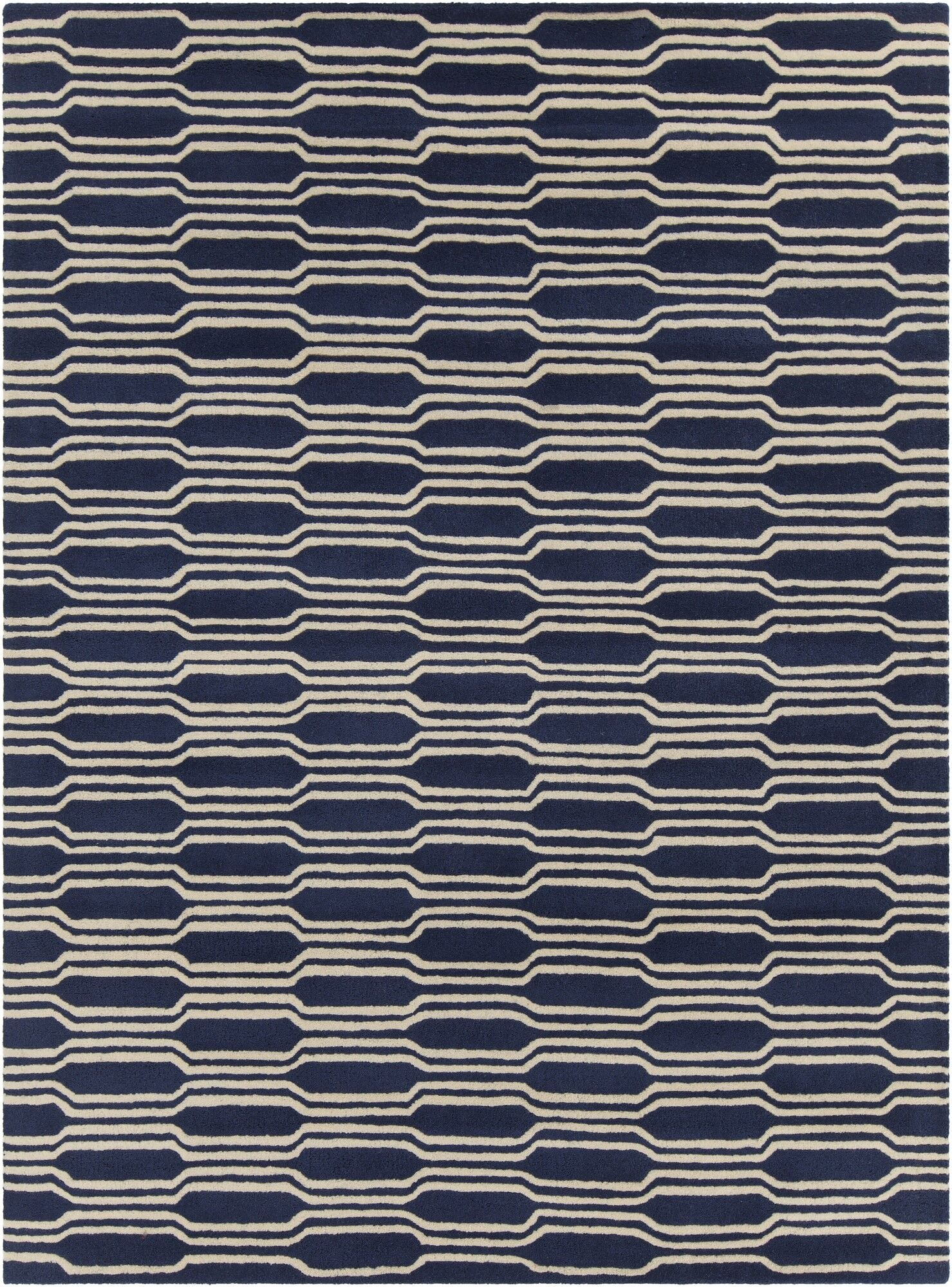 Electra Hand Tufted Rectangle Contemporary Blue/Cream Area Rug Rug Size: 5' x 7'