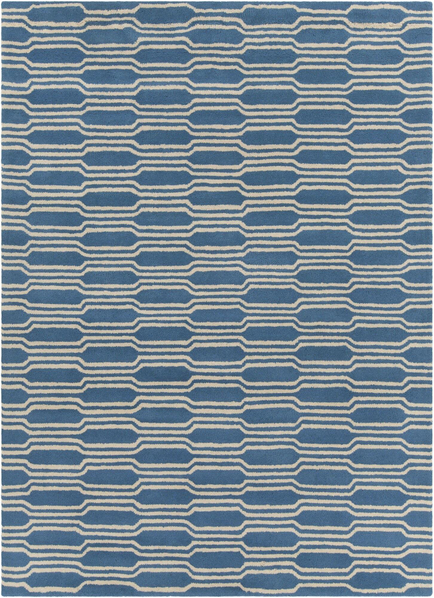 Electra Hand Tufted Rectangle Contemporary Aqua/Cream Area Rug Rug Size: 5' x 7'