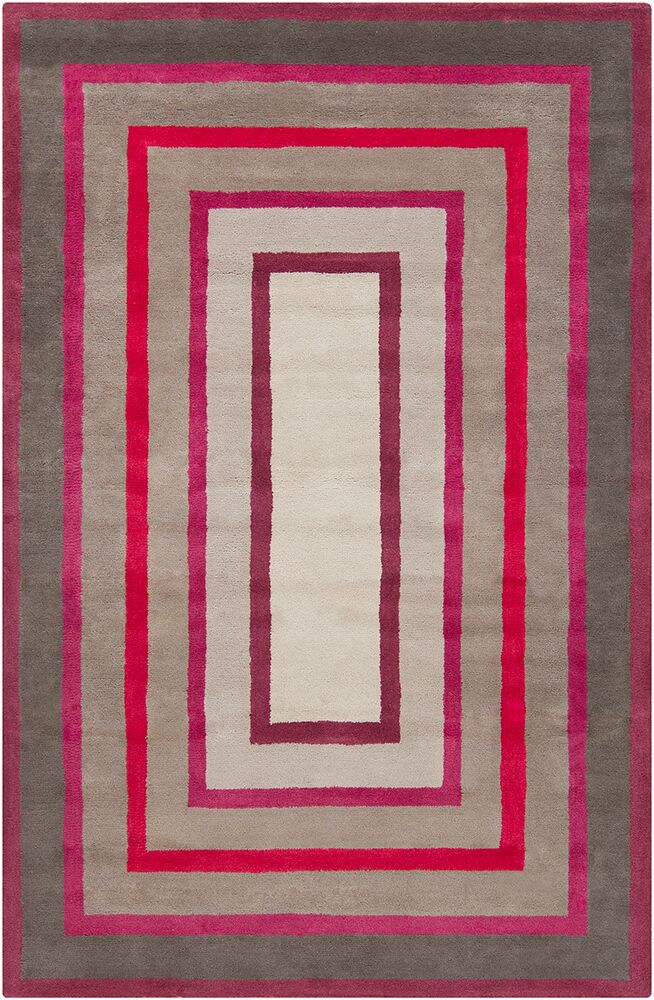 Borset Hand Tufted Wool Gray/Red Area Rug Rug Size: 5' x 7'6