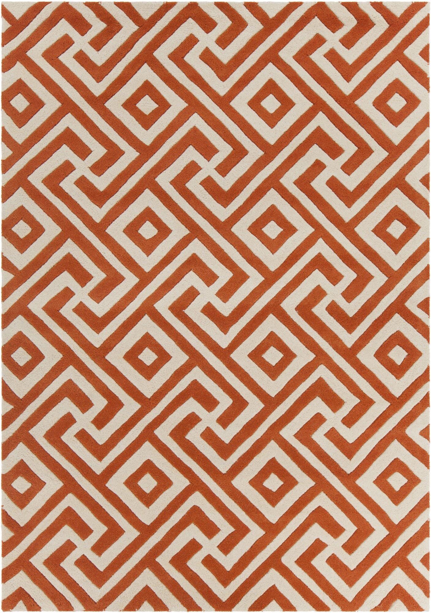 Electra Hand Tufted Rectangle Contemporary Orange/Cream Area Rug Rug Size: 5' x 7'