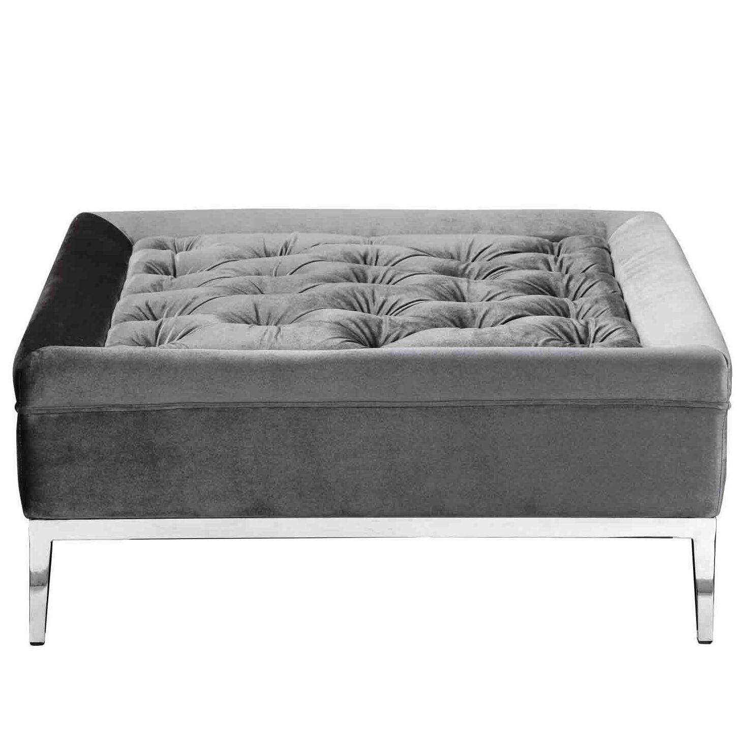 Messines Tufted Cocktail Ottoman Upholstery: Silver