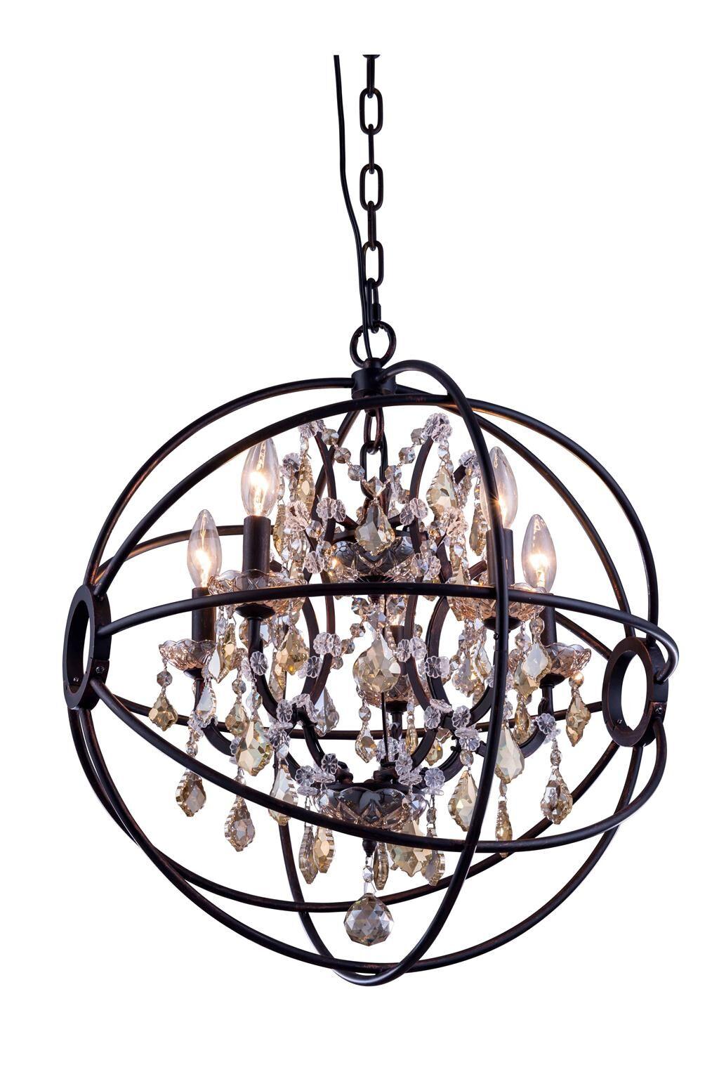 Svante 5-Light Globe Pendant Crystal: Golden Teak (Smoky), Finish: Polished Nickel