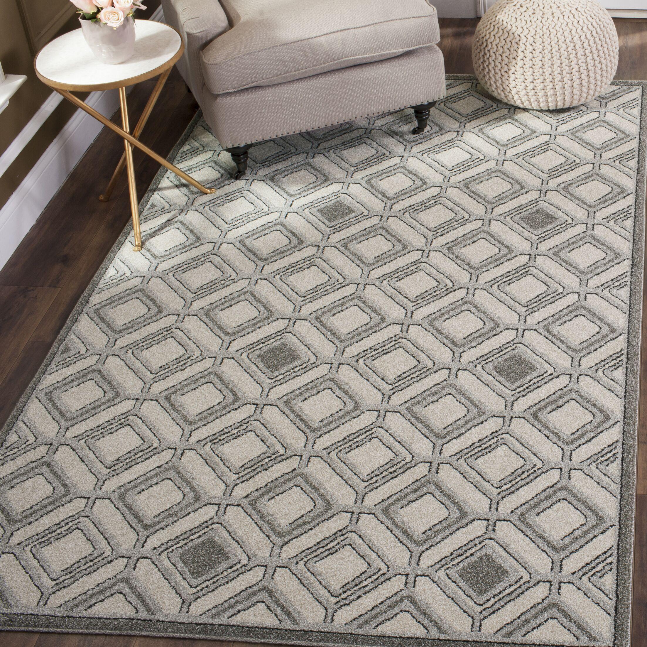 Maritza Ivory/Light Gray Area Rug Rug Size: Square 7'