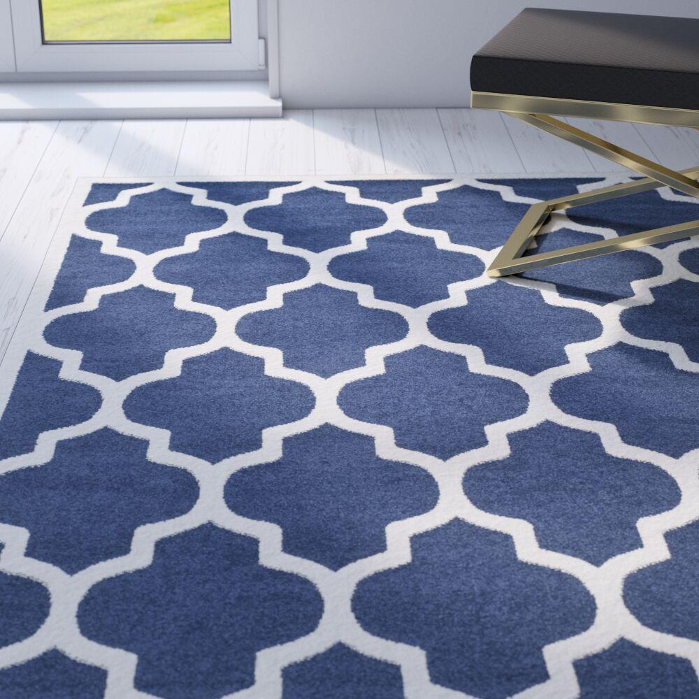 Maritza Geometric Navy/Beige Indoor/Outdoor Area Rug Rug Size: Round 9'