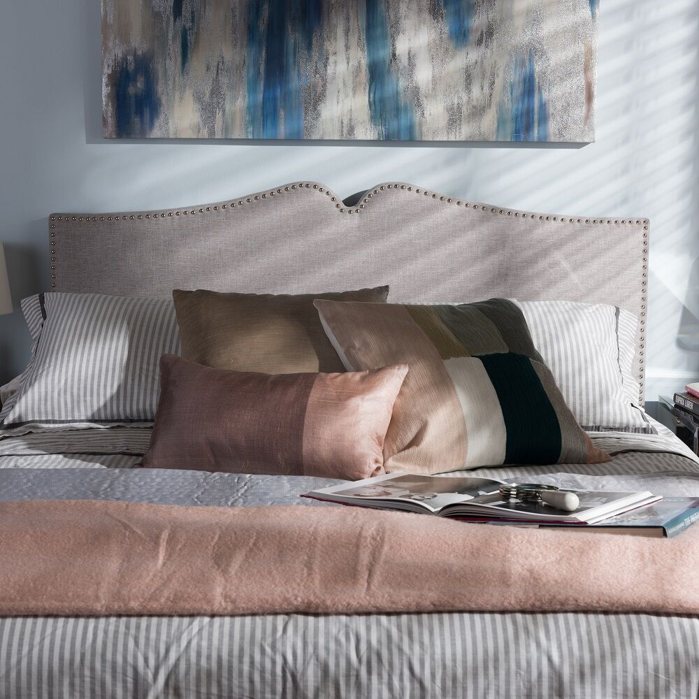 Ruhland Upholstered Panel Headboard Size: Queen, Upholstery: Grayish Beige