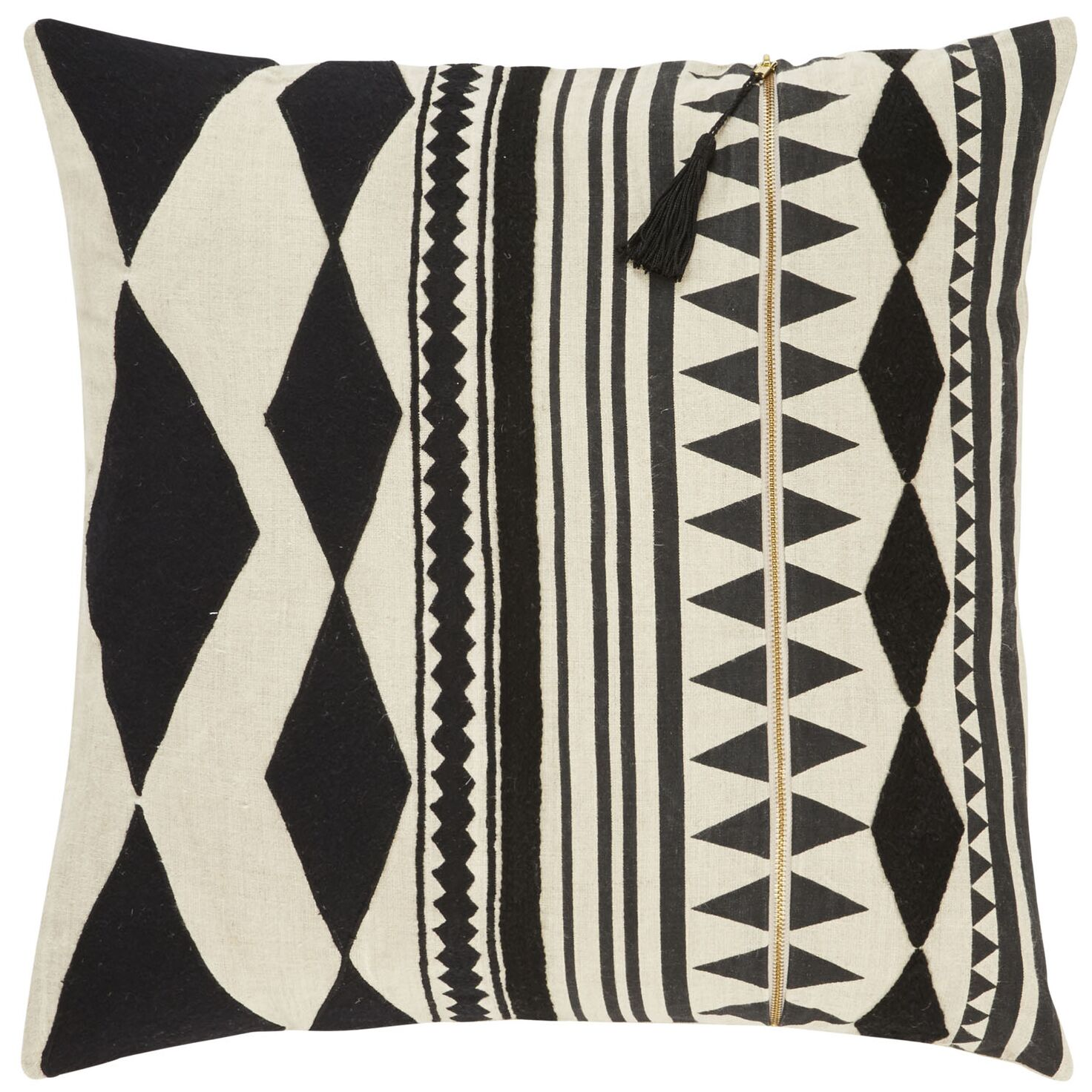 Ryley Removable Tribal Pattern Linen Throw Pillow Color: Black / Ivory