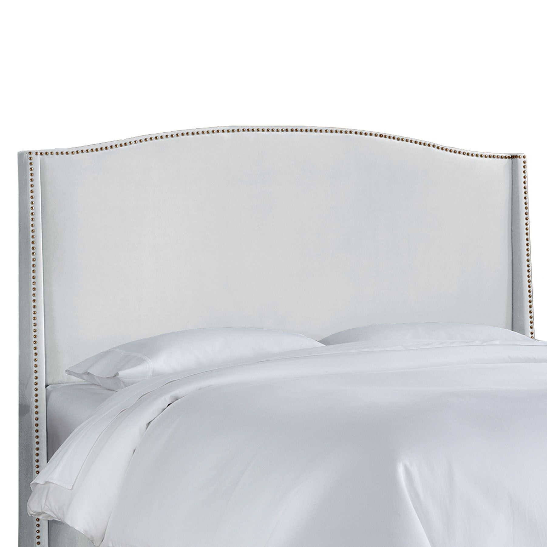 Doleman Contemporary Upholstered Wingback Headboard Size: King, Upholstery: White