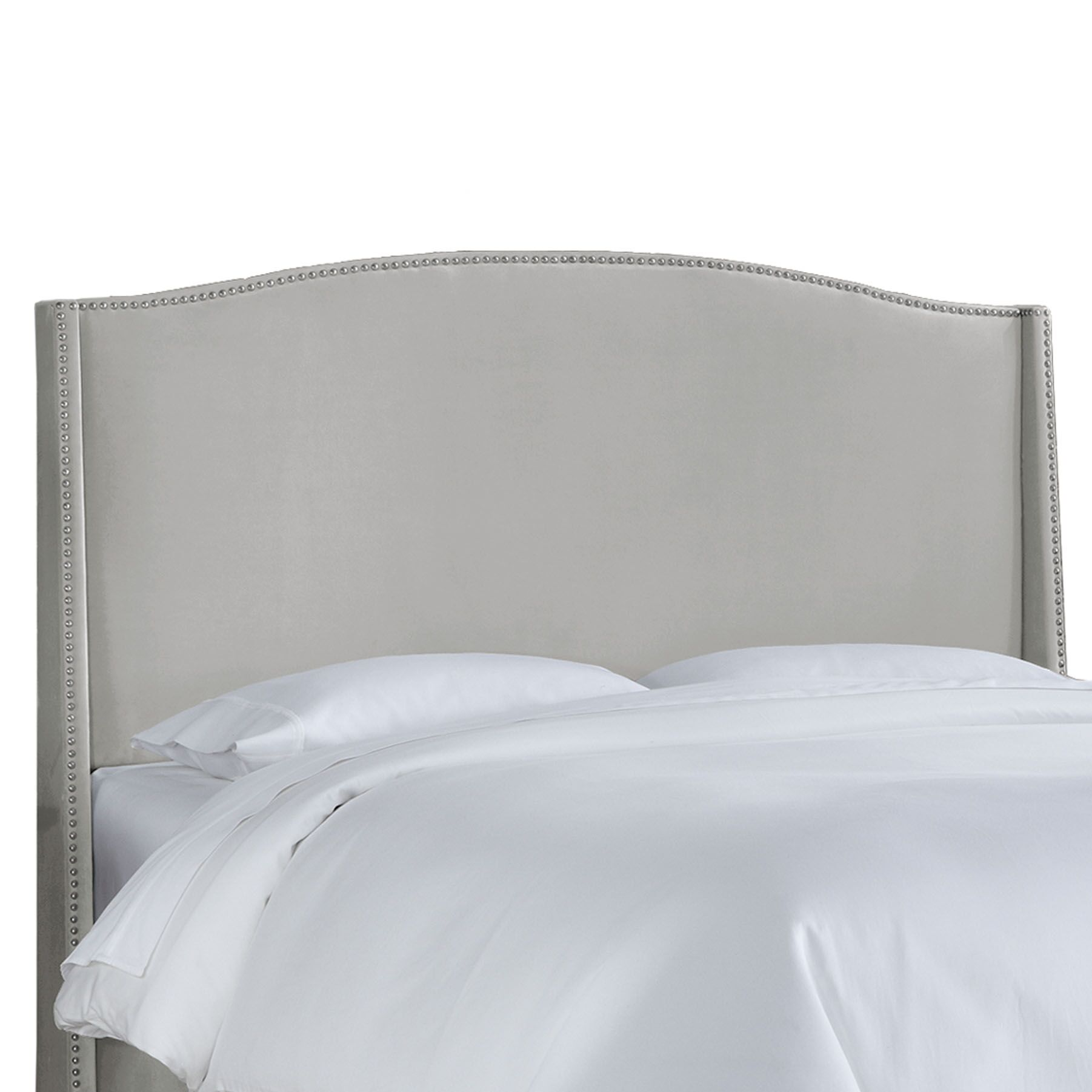 Doleman Contemporary Upholstered Wingback Headboard Size: King, Upholstery: Light Grey