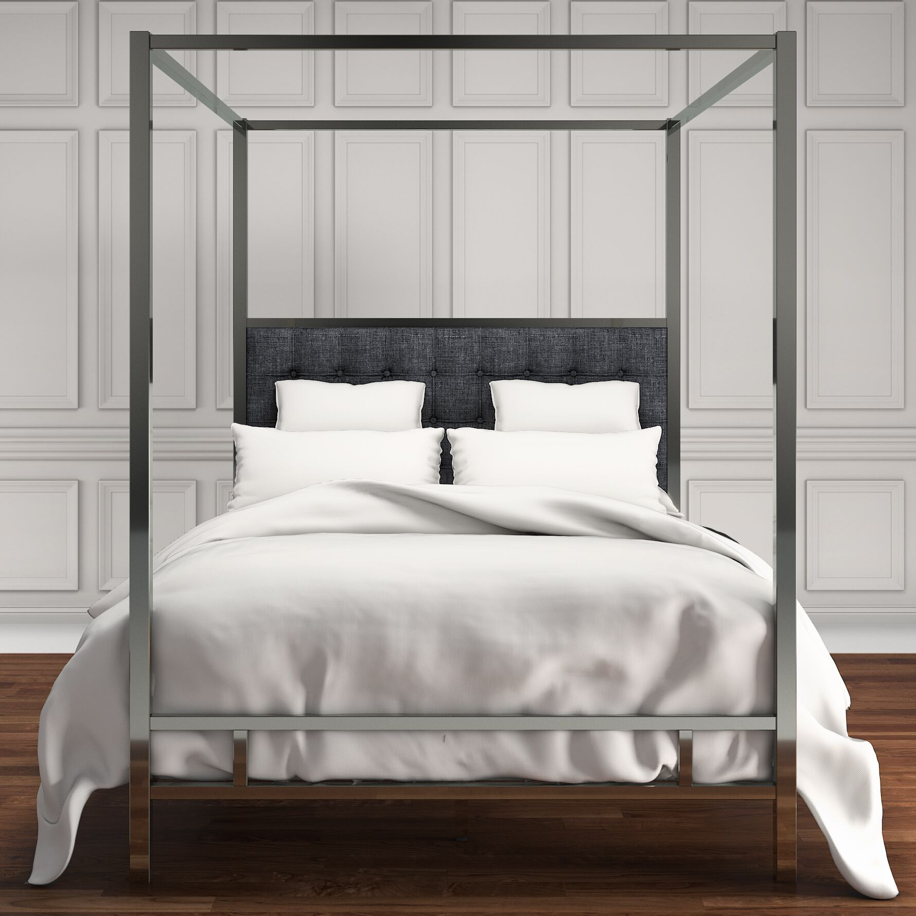 Holton Upholstered Canopy Bed Color: Dark Gray, Size: King