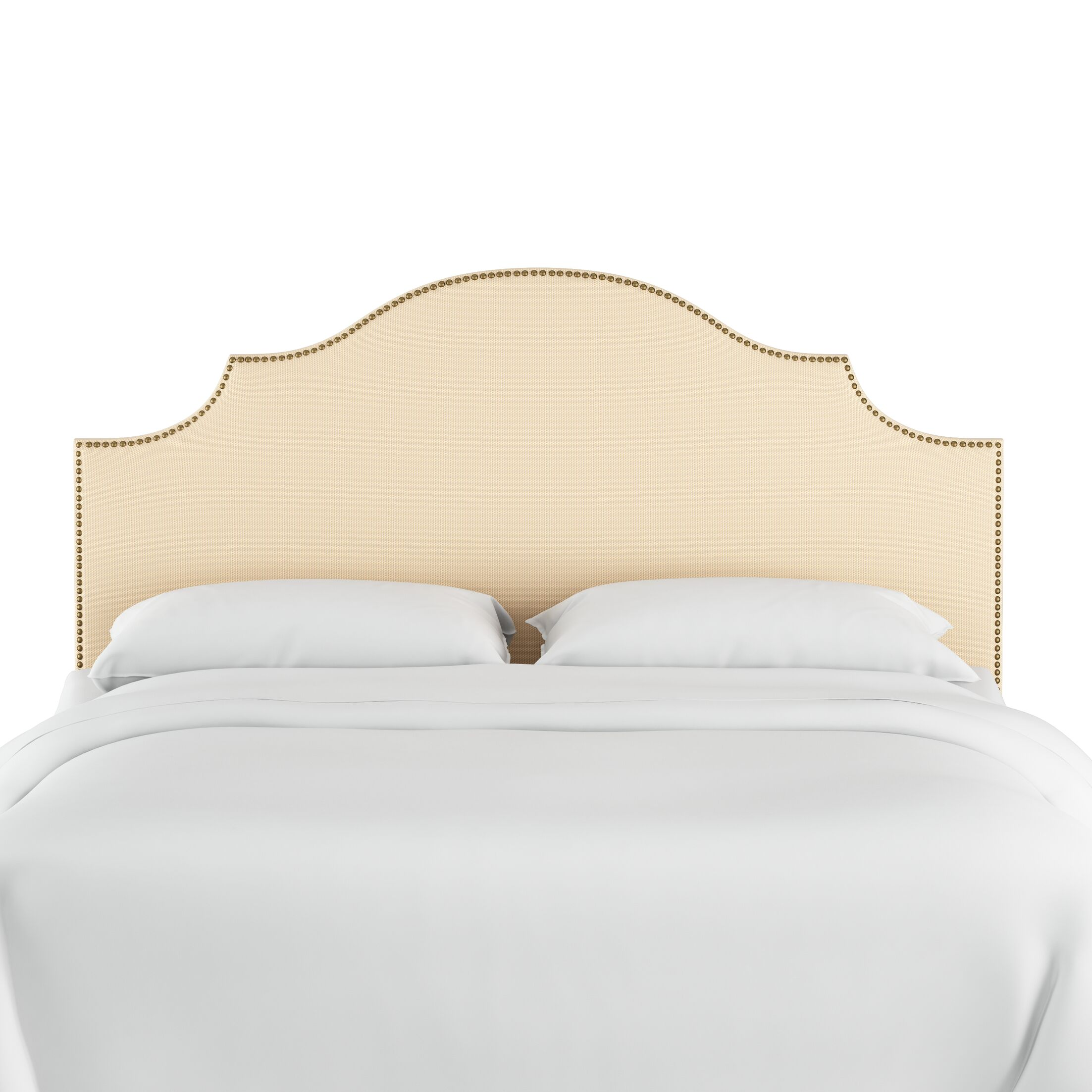 Rector Nail Button Notched Duck Upholstered Panel Headboard Color: Natural, Size: Queen