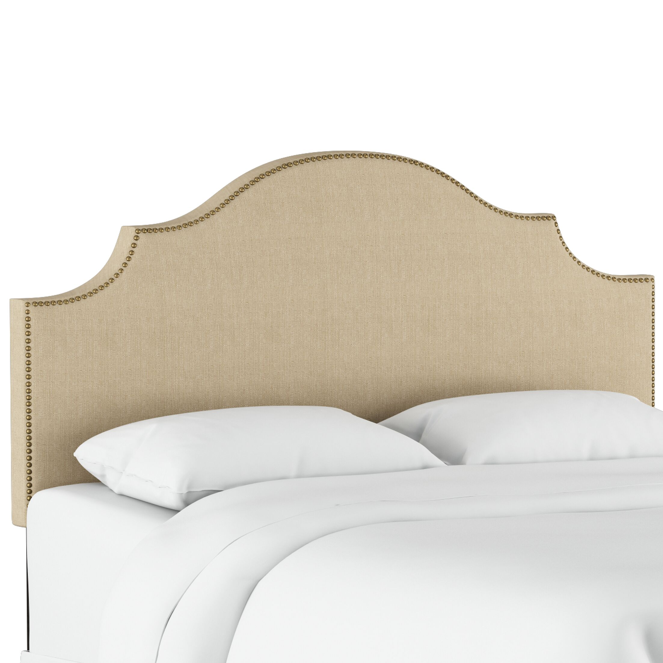 Eduard Nail Button Notched Upholstered Panel Headboard Color: Patriot Jute, Size: Twin