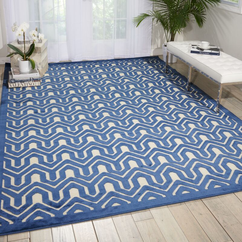 Beaconsfield Ivory/Blue Area Rug Rug Size: Rectangle 7'6