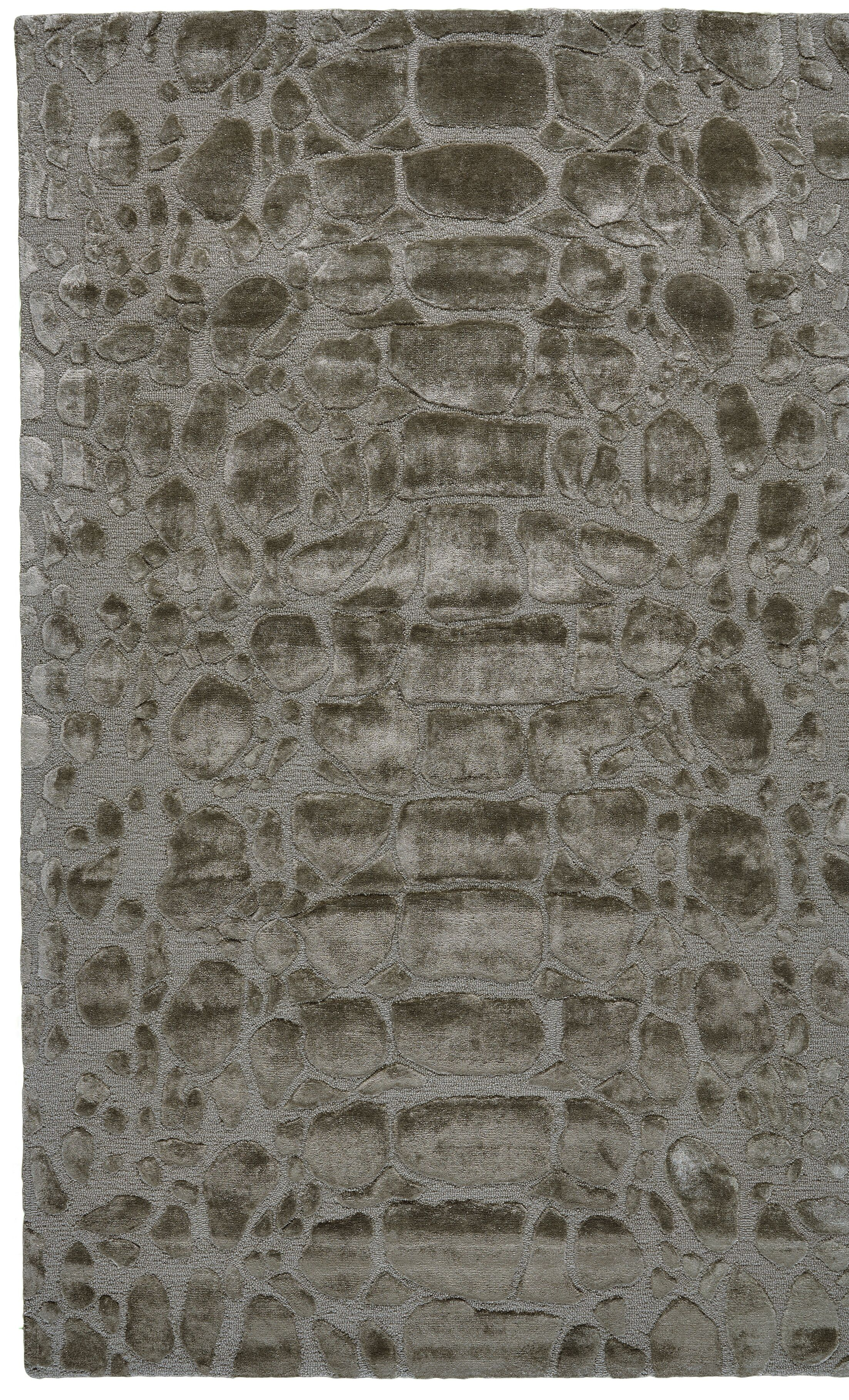 Gina Hand-Tufted Pewter Area Rug Rug Size: Rectangle 8' x 11'