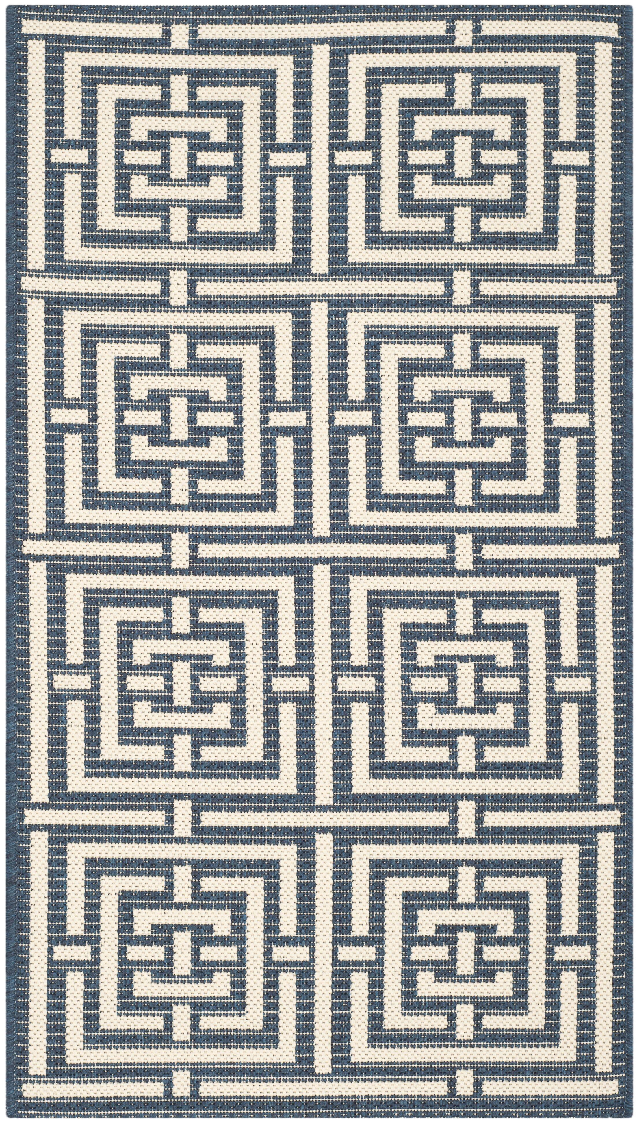 Mayer Navy/Beige Outdoor Rug Rug Size: Rectangle 9' x 12'