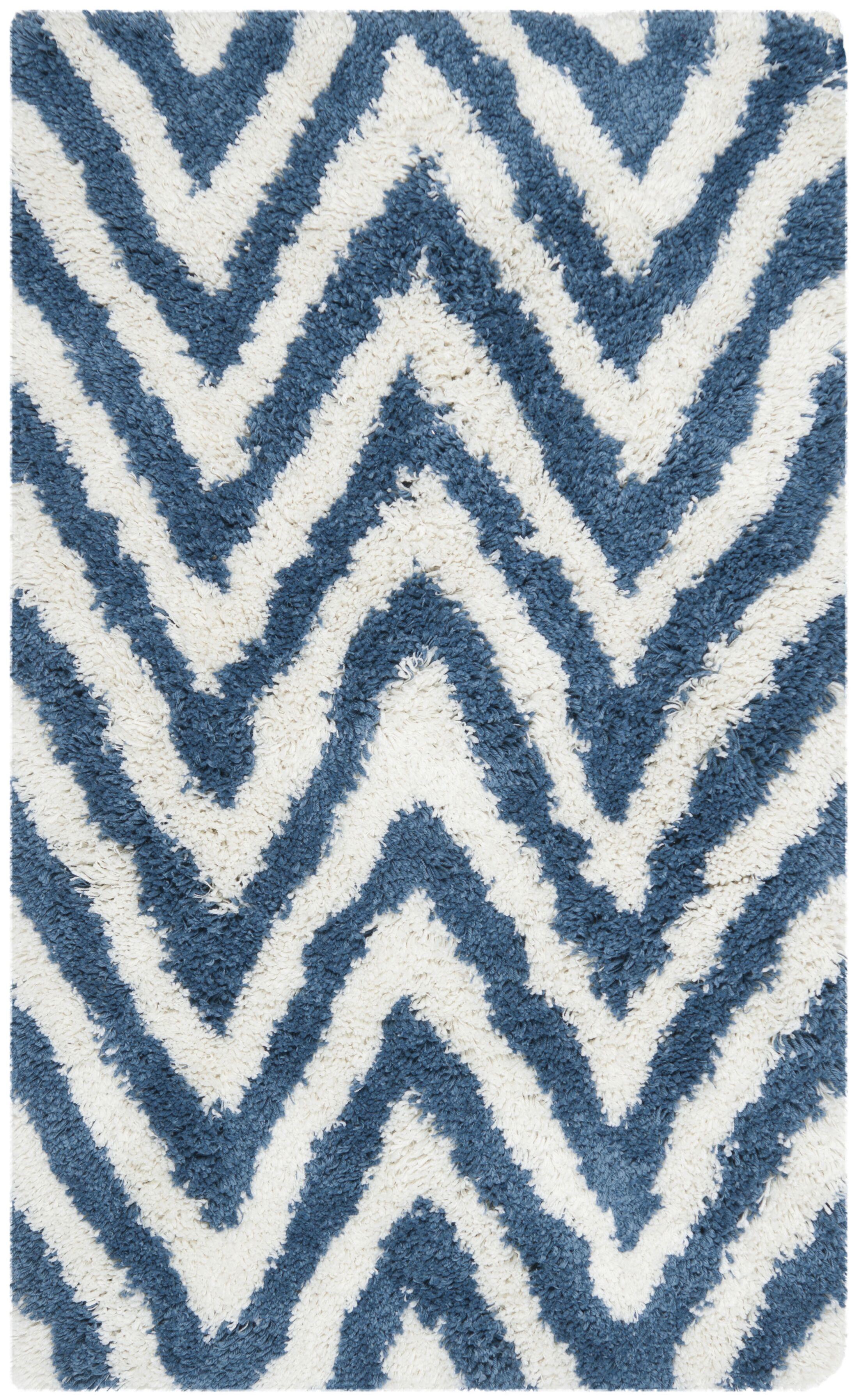 Davey Ivory/Blue Area Rug Rug Size: Rectangle 3' x 5'