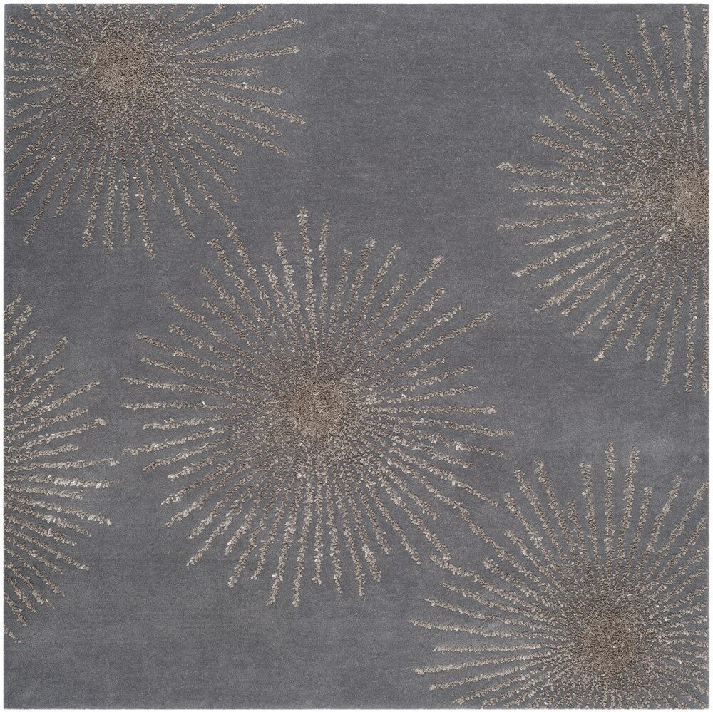 Beaufays Hand-Tufted Dark Gray/Silver Area Rug Rug Size: Square 6' x 6'
