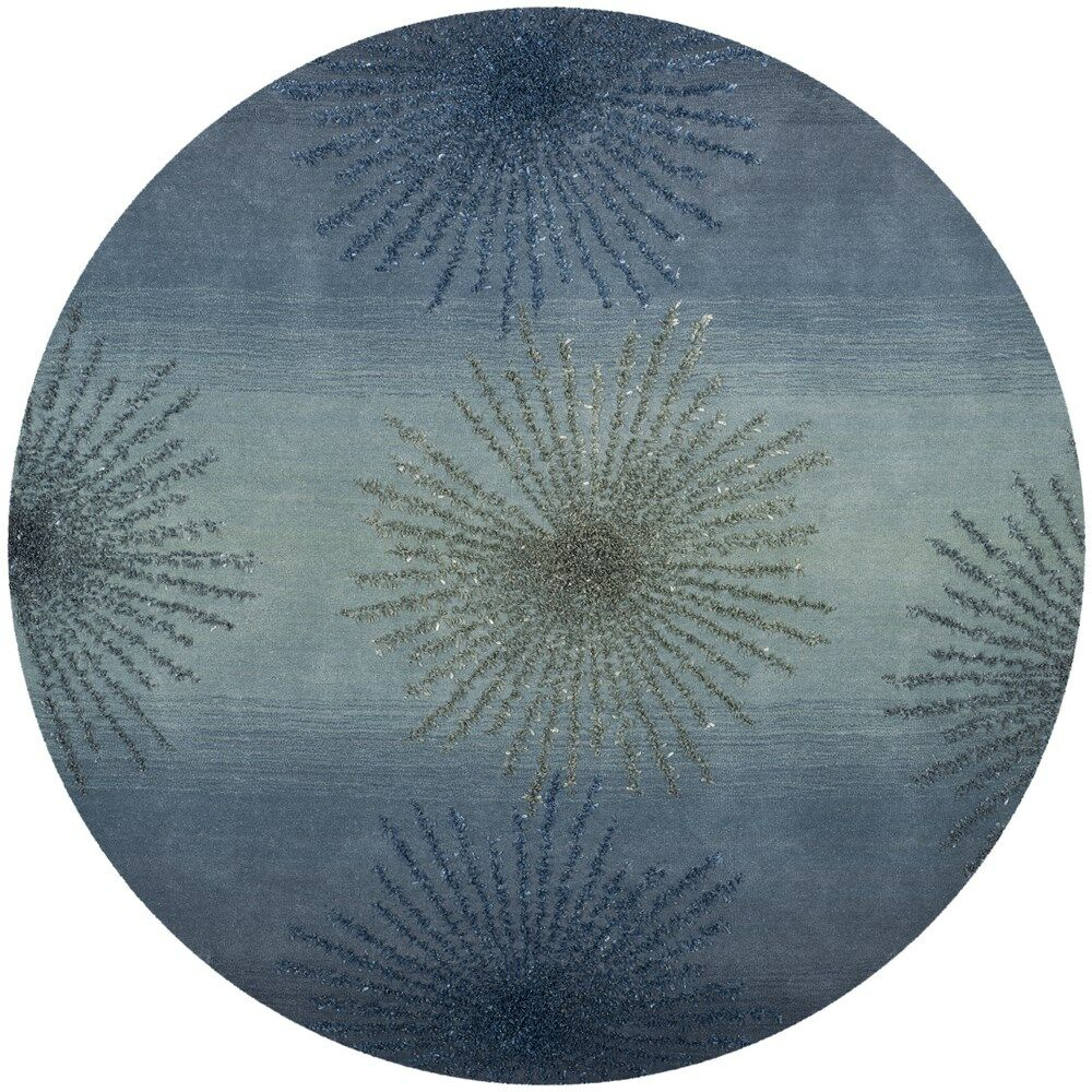 Germain Hand-Tufted Gray/Blue Area Rug Rug Size: Round 6'