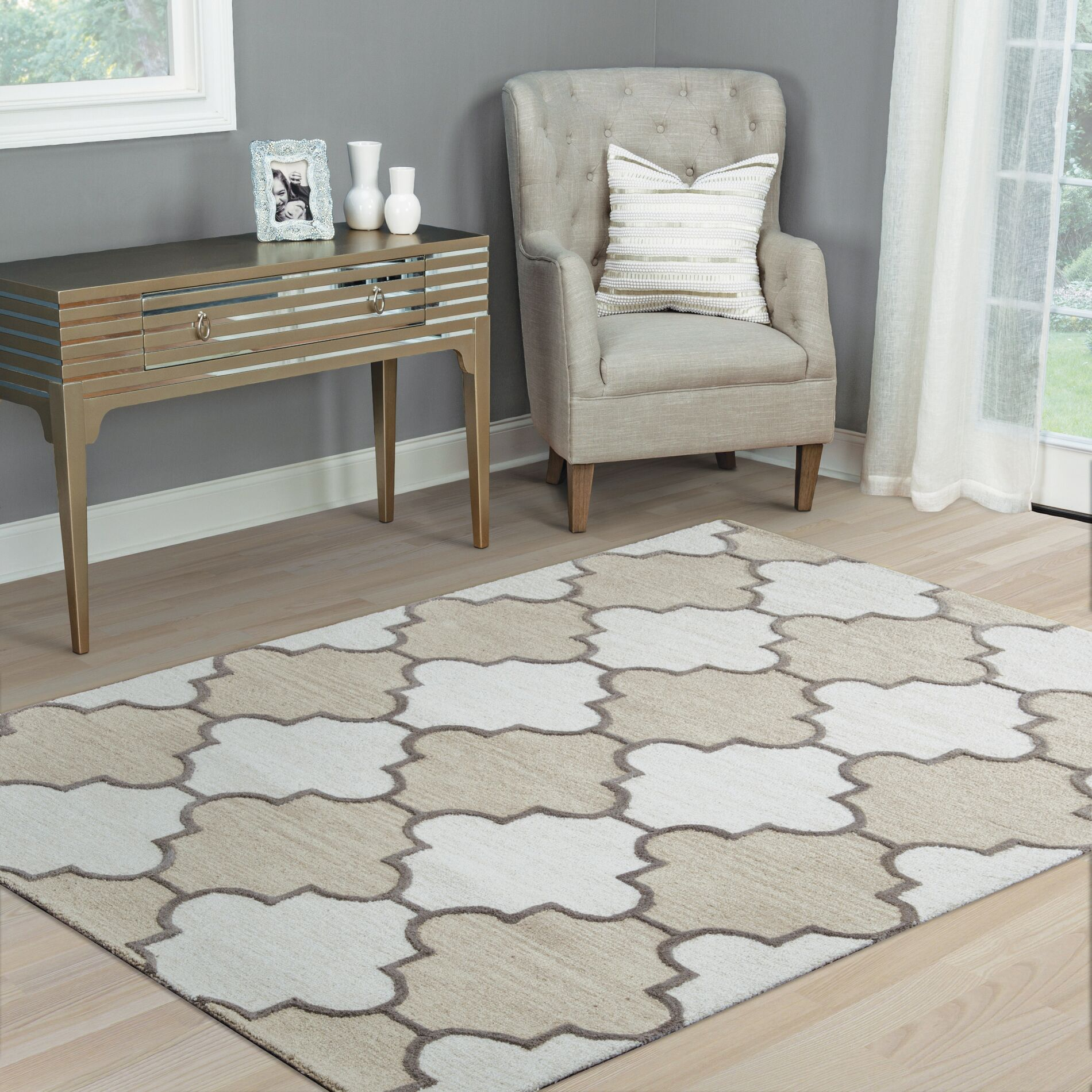 Judy Hand-Tufted Ivory Area Rug Rug Size: Runner 2'6