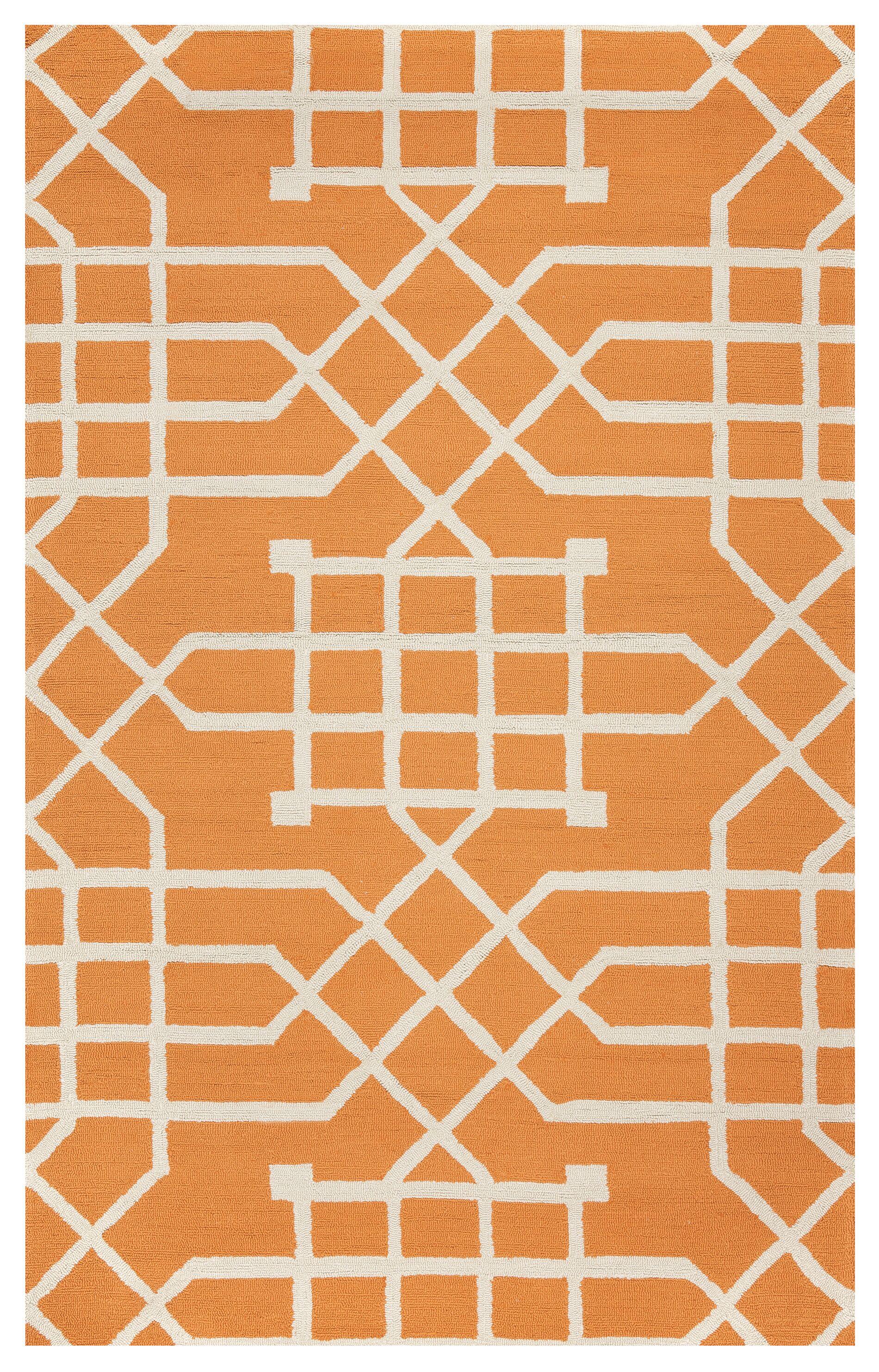 Angela Hand-Tufted Orange Indoor/Outdoor Area Rug Size: Rectangle 9' x 12'