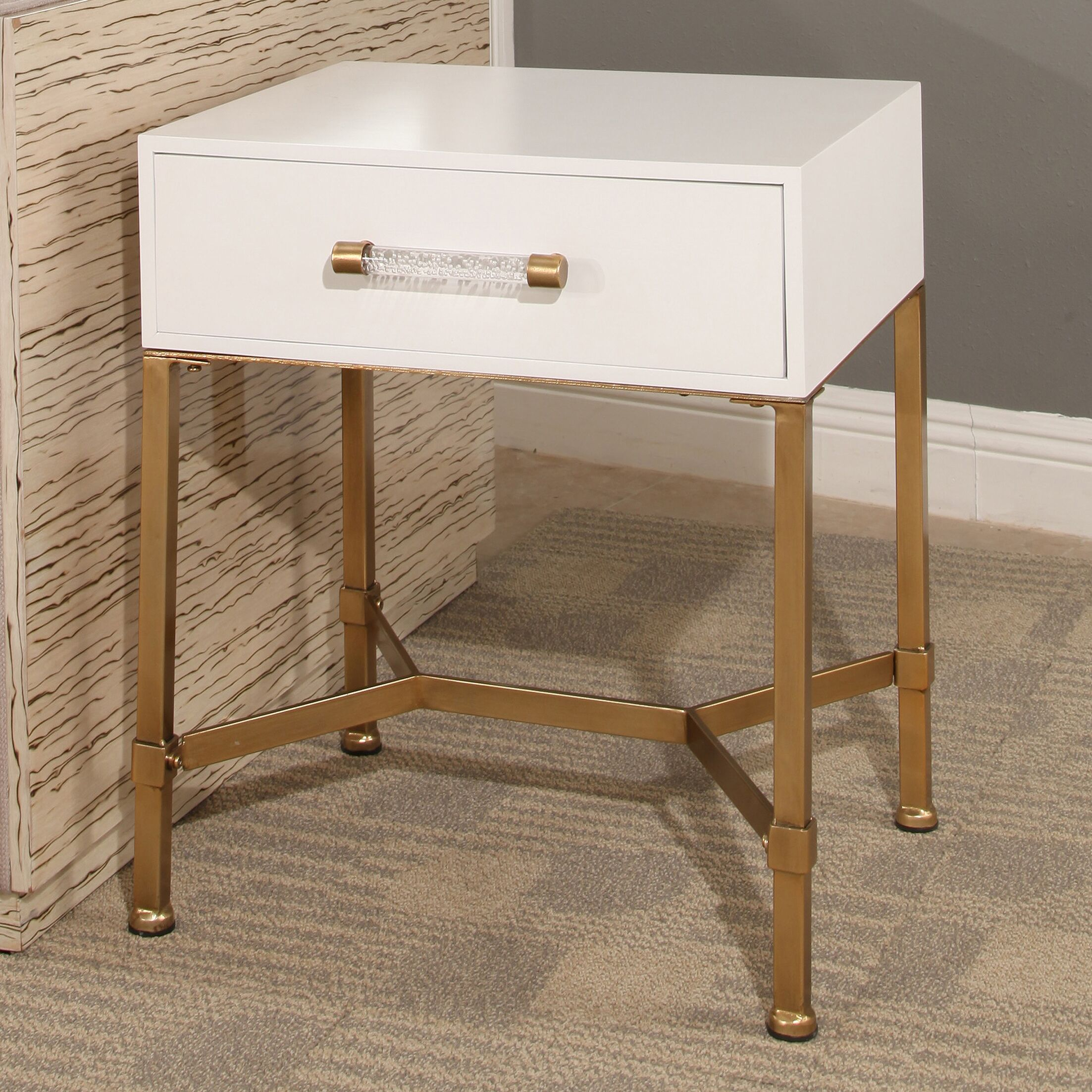 Camilla End Table with Storage Top Color: White